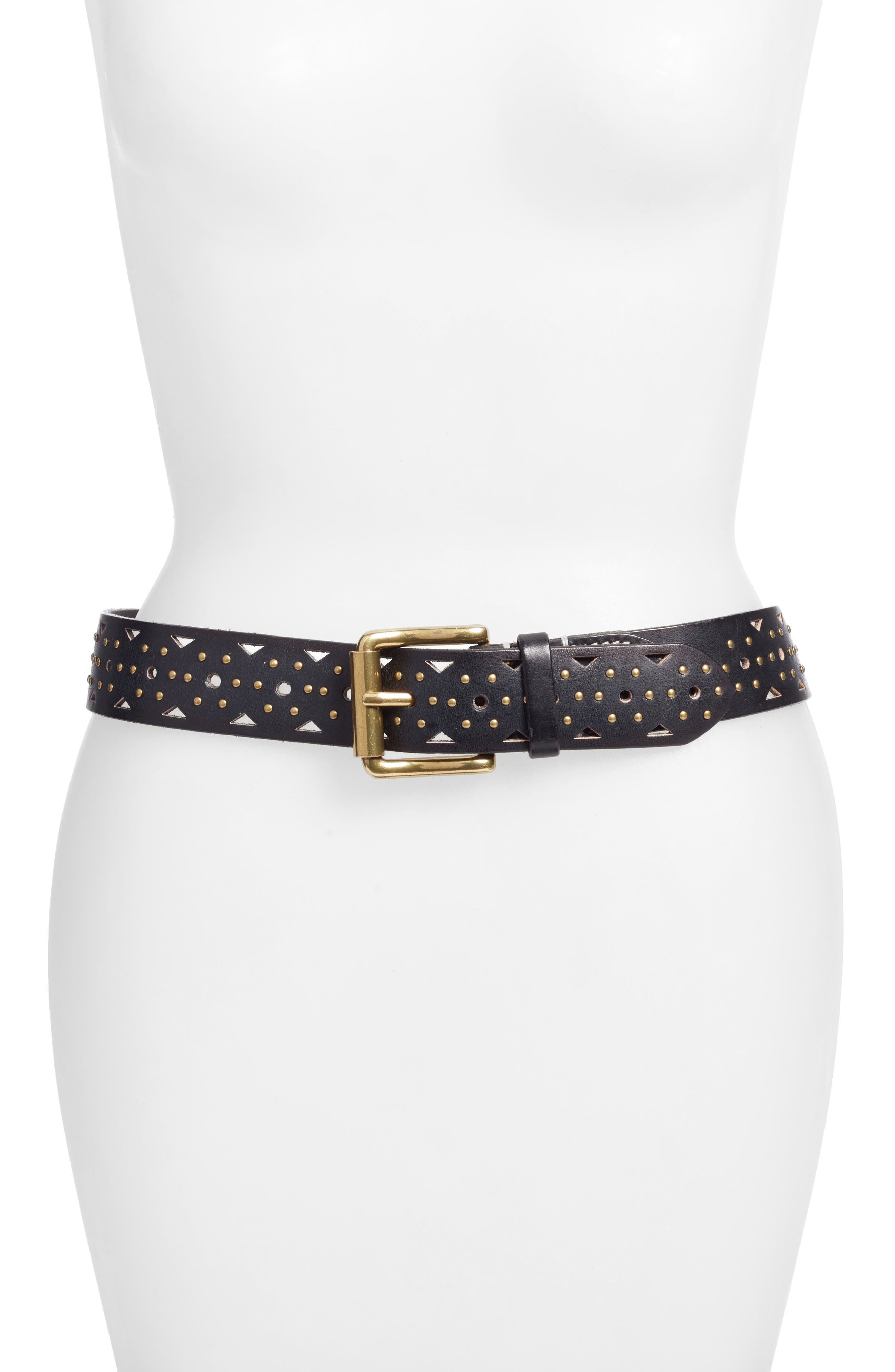Addison Studded Leather Belt,                             Main thumbnail 1, color,                             001
