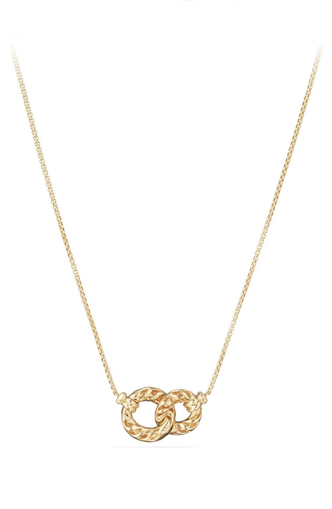 Belmont Extra-Small Double Curb Link Necklace with Diamonds in 18K Gold,                             Main thumbnail 1, color,                             YELLOW GOLD/ DIAMOND