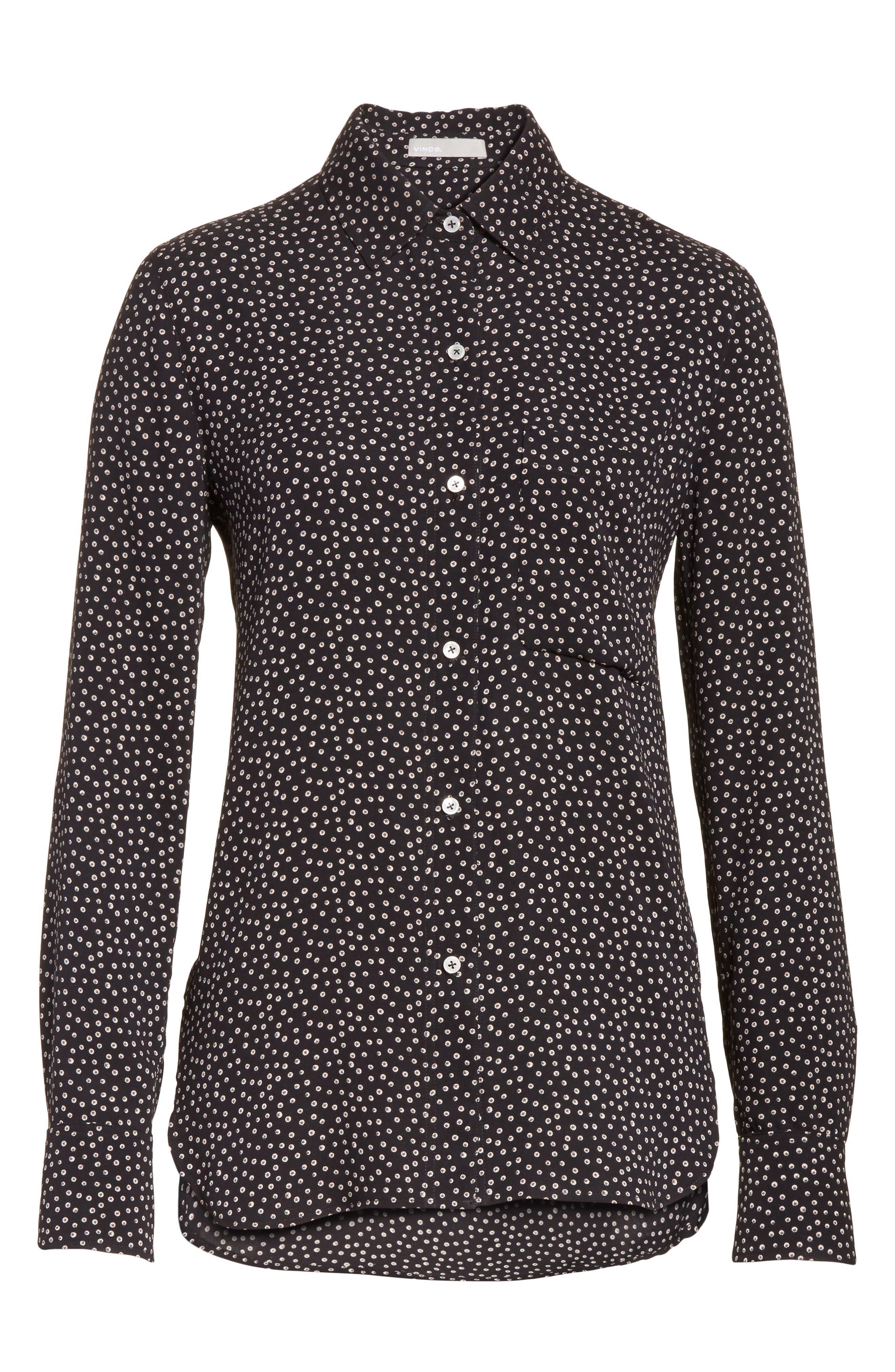 Celestial Polka Dot Slim Shirt,                             Alternate thumbnail 6, color,                             005
