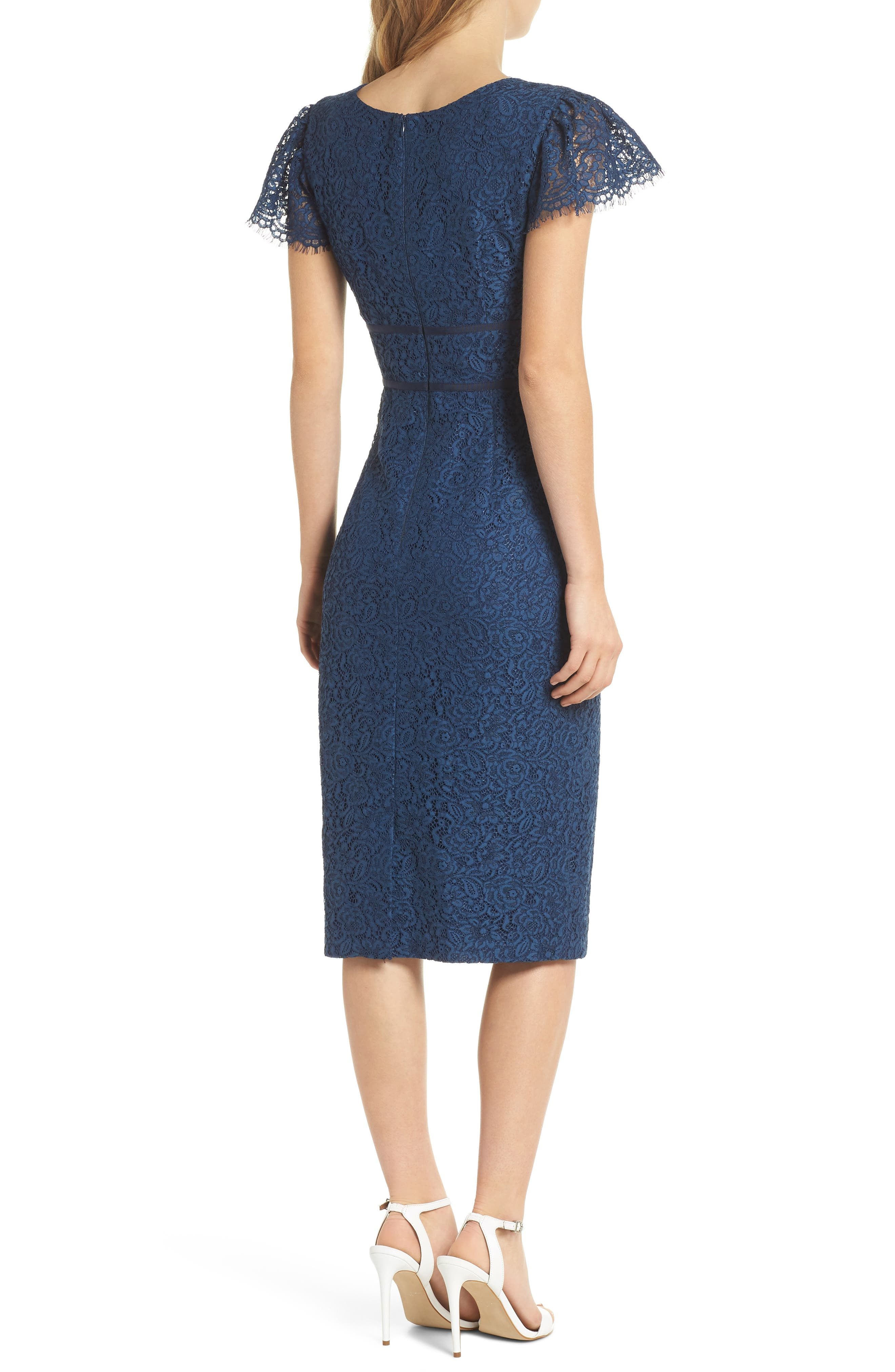 Ginger Rosebud Lace Sheath Dress,                             Alternate thumbnail 3, color,