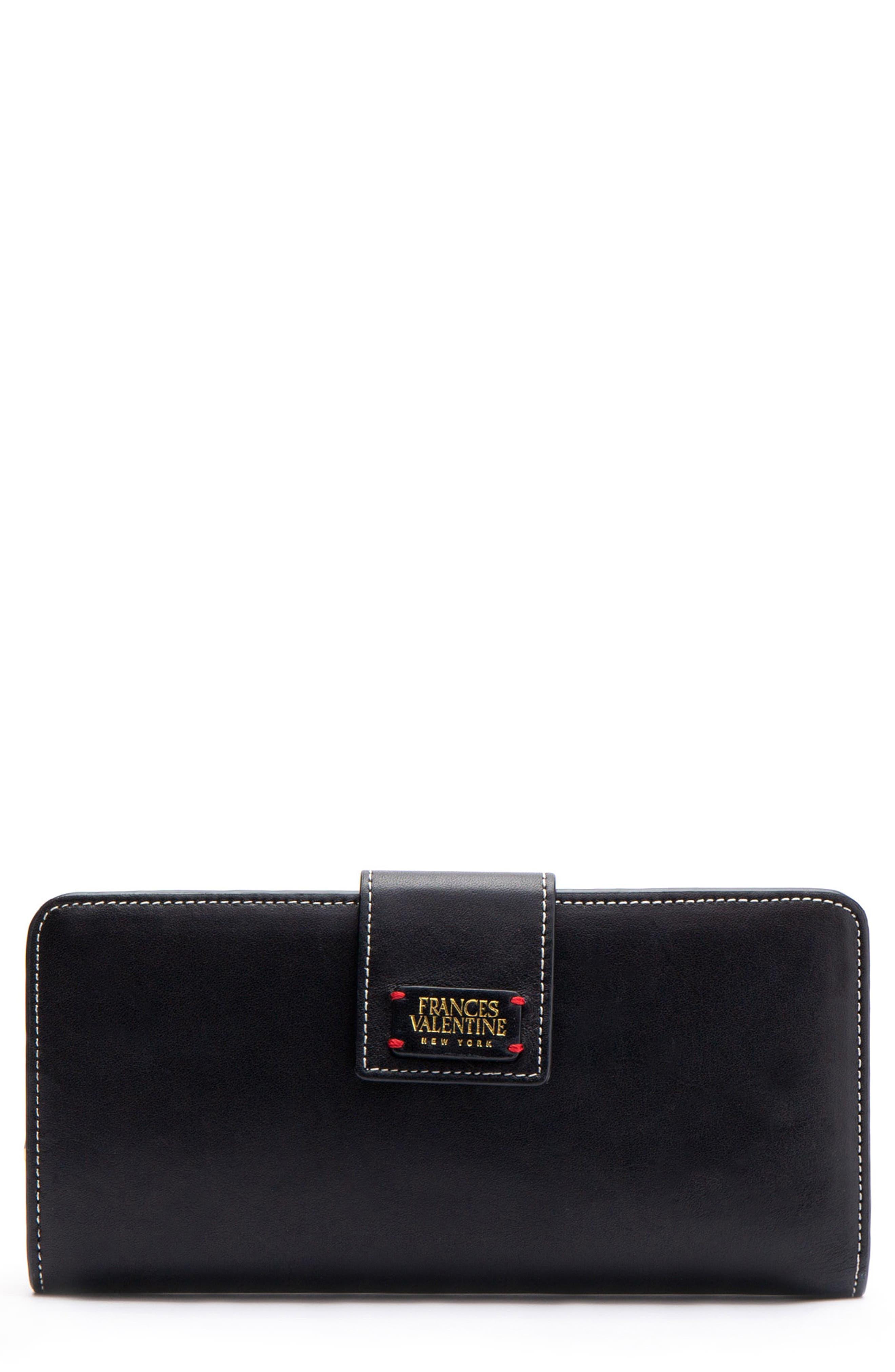 Jefferson Slim Calfskin Leather Wallet,                         Main,                         color, BLACK/ OYSTER