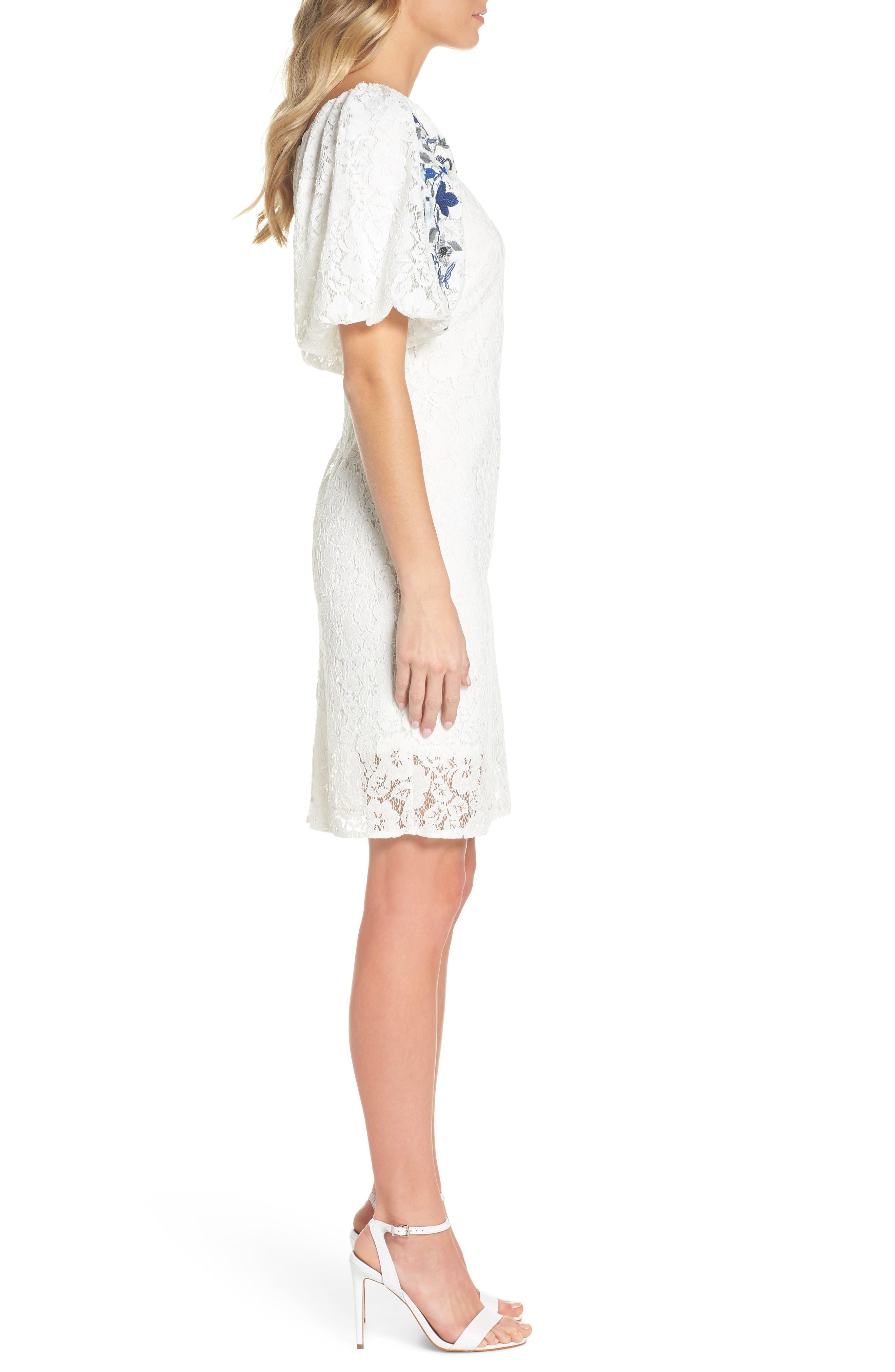 Lace Sheath Dress,                             Alternate thumbnail 3, color,                             120