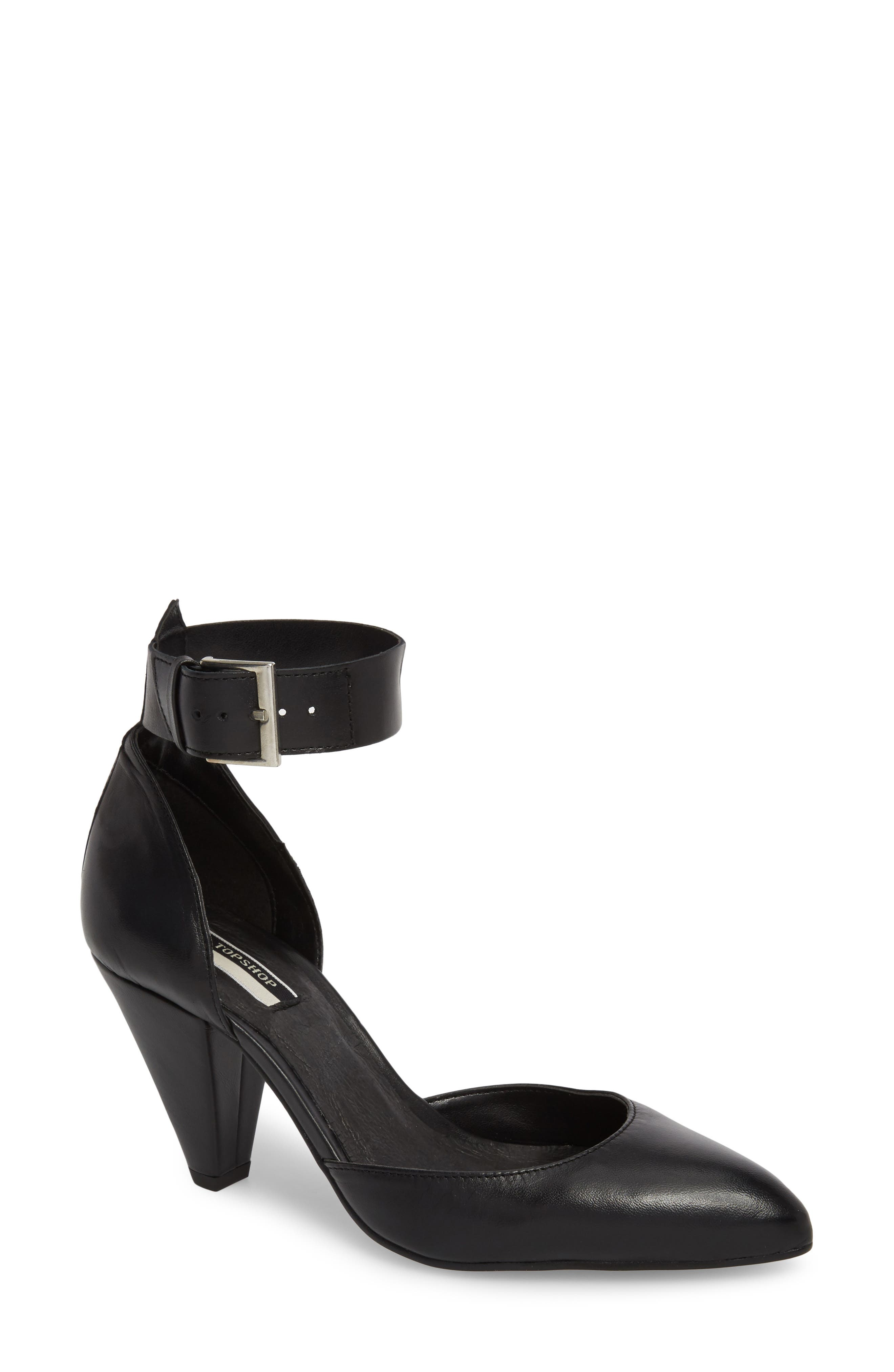Jazzie Ankle Strap d'Orsay Pump,                             Main thumbnail 1, color,                             BLACK