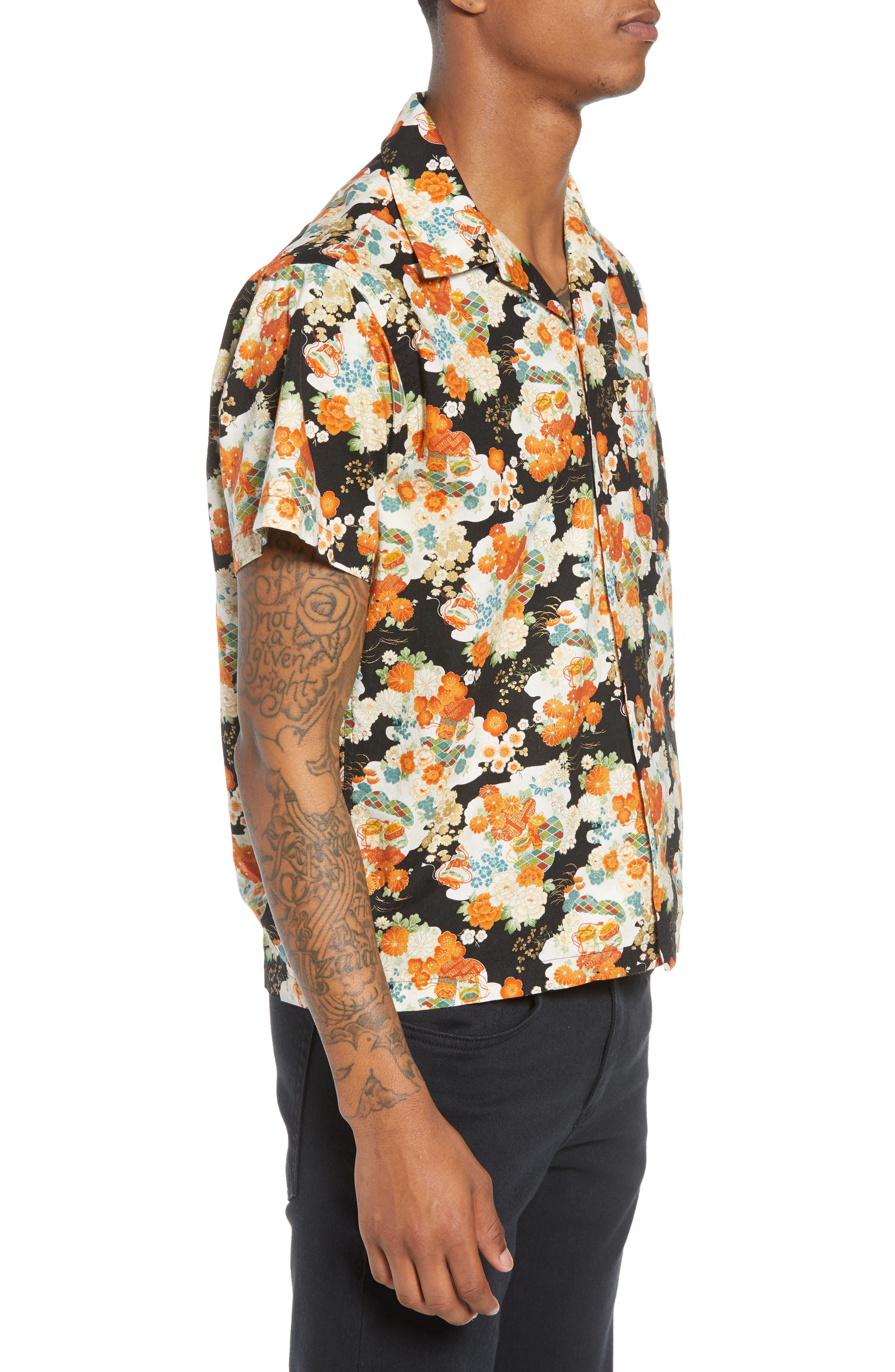 Japanese Aloha Festival Woven Shirt,                             Alternate thumbnail 3, color,                             001