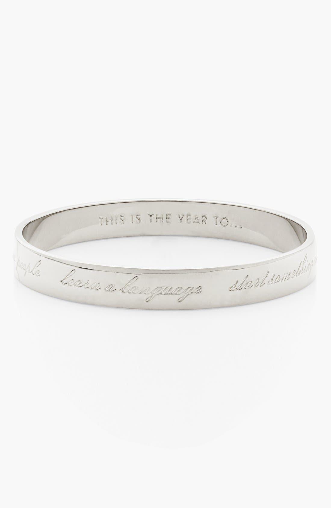 KATE SPADE NEW YORK 'idiom - this is the year to...' thin bangle, Main, color, 040