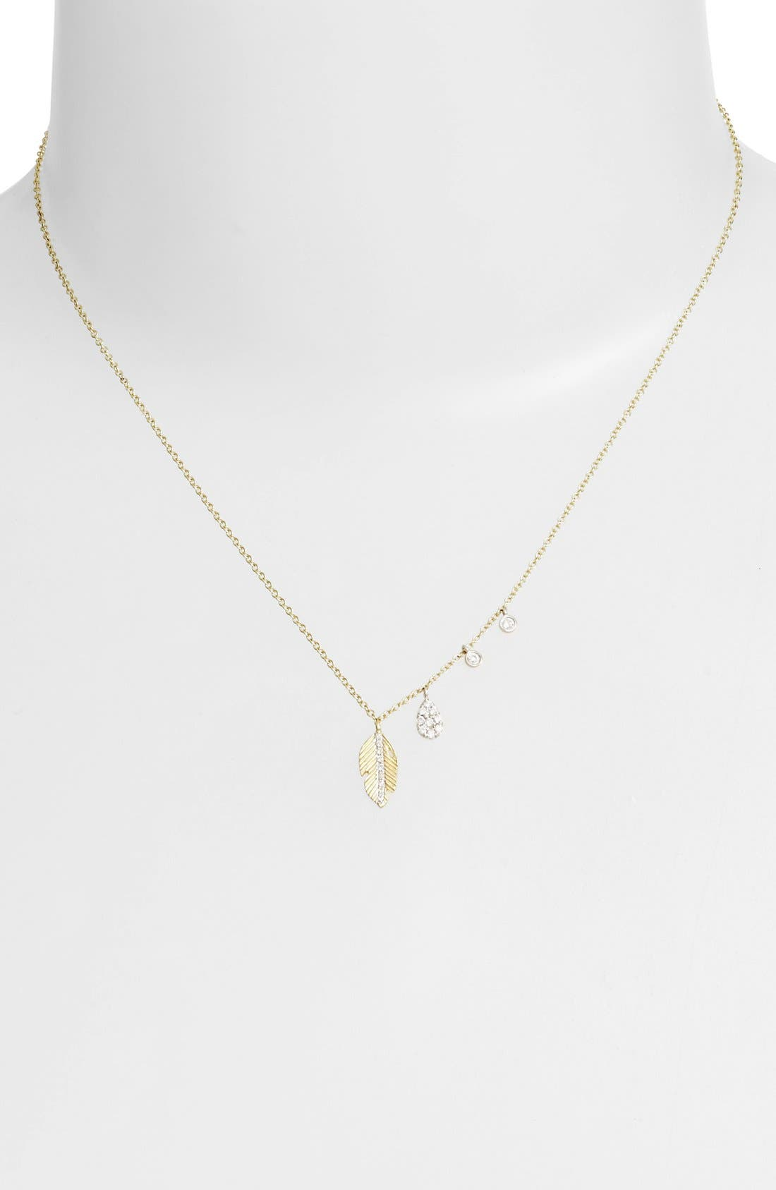 Leaf Pendant Necklace,                             Alternate thumbnail 2, color,                             YELLOW GOLD/ WHITE GOLD
