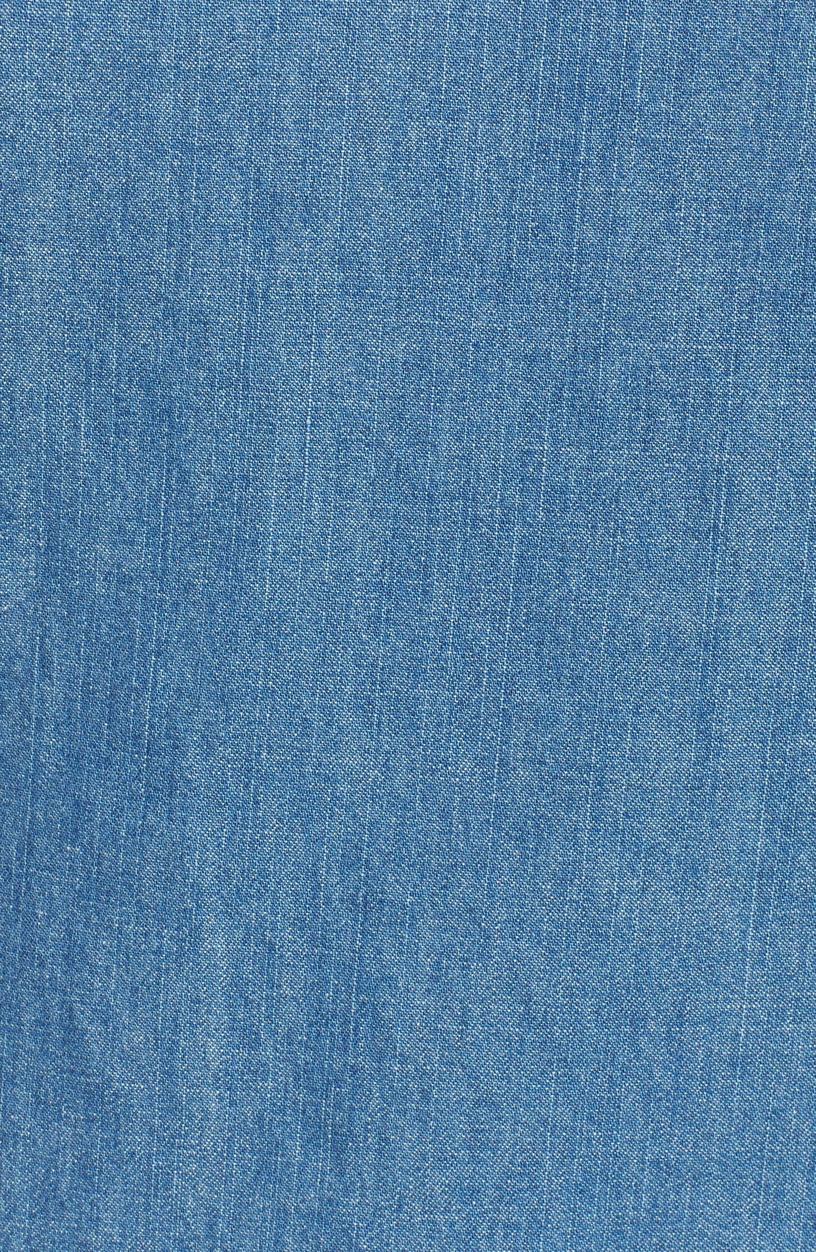 Casual Chambray Ruffle Sleeve Top,                             Alternate thumbnail 5, color,                             455