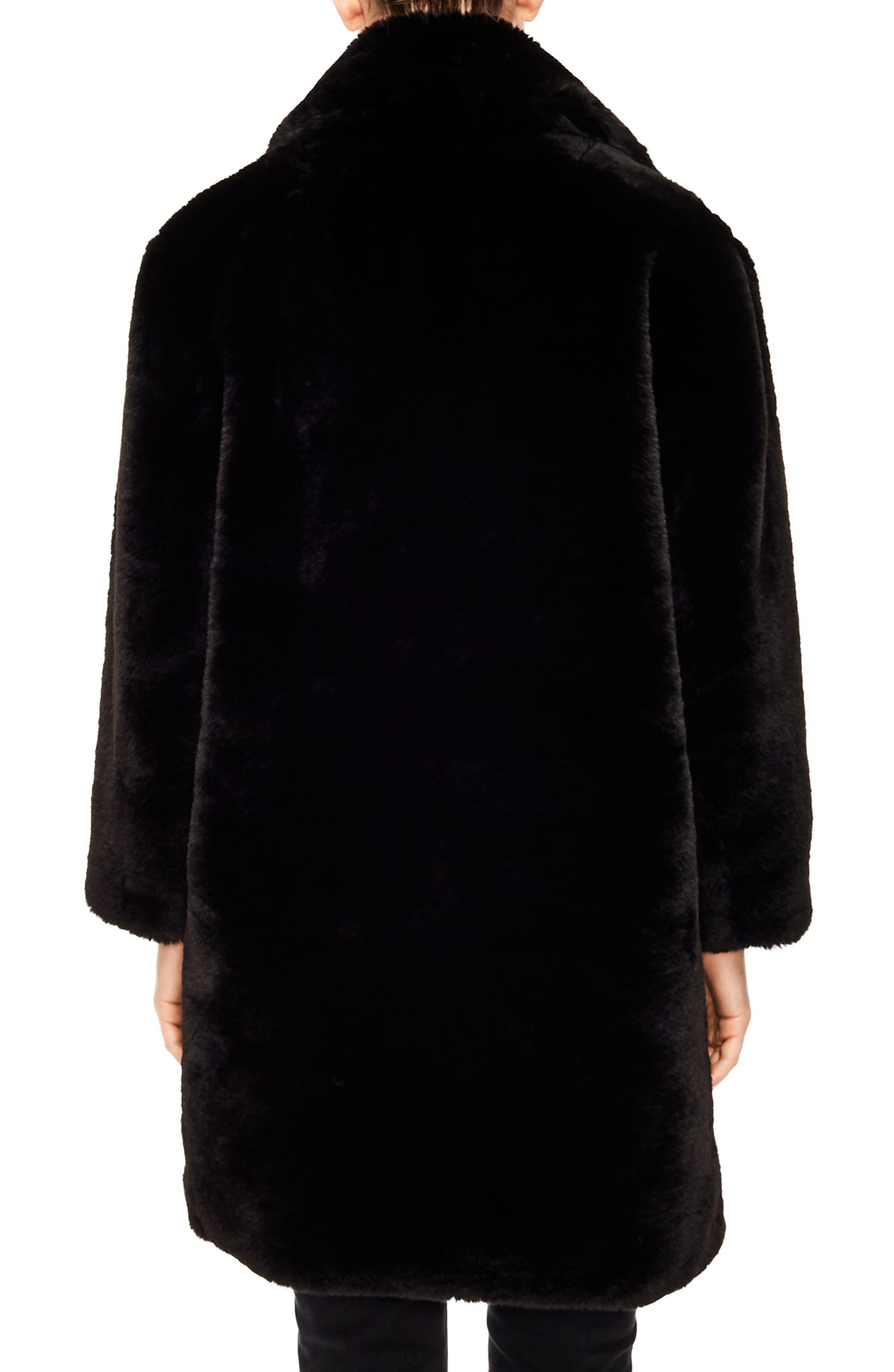 Ballote Faux Fur Coat,                             Alternate thumbnail 2, color,                             BLACK