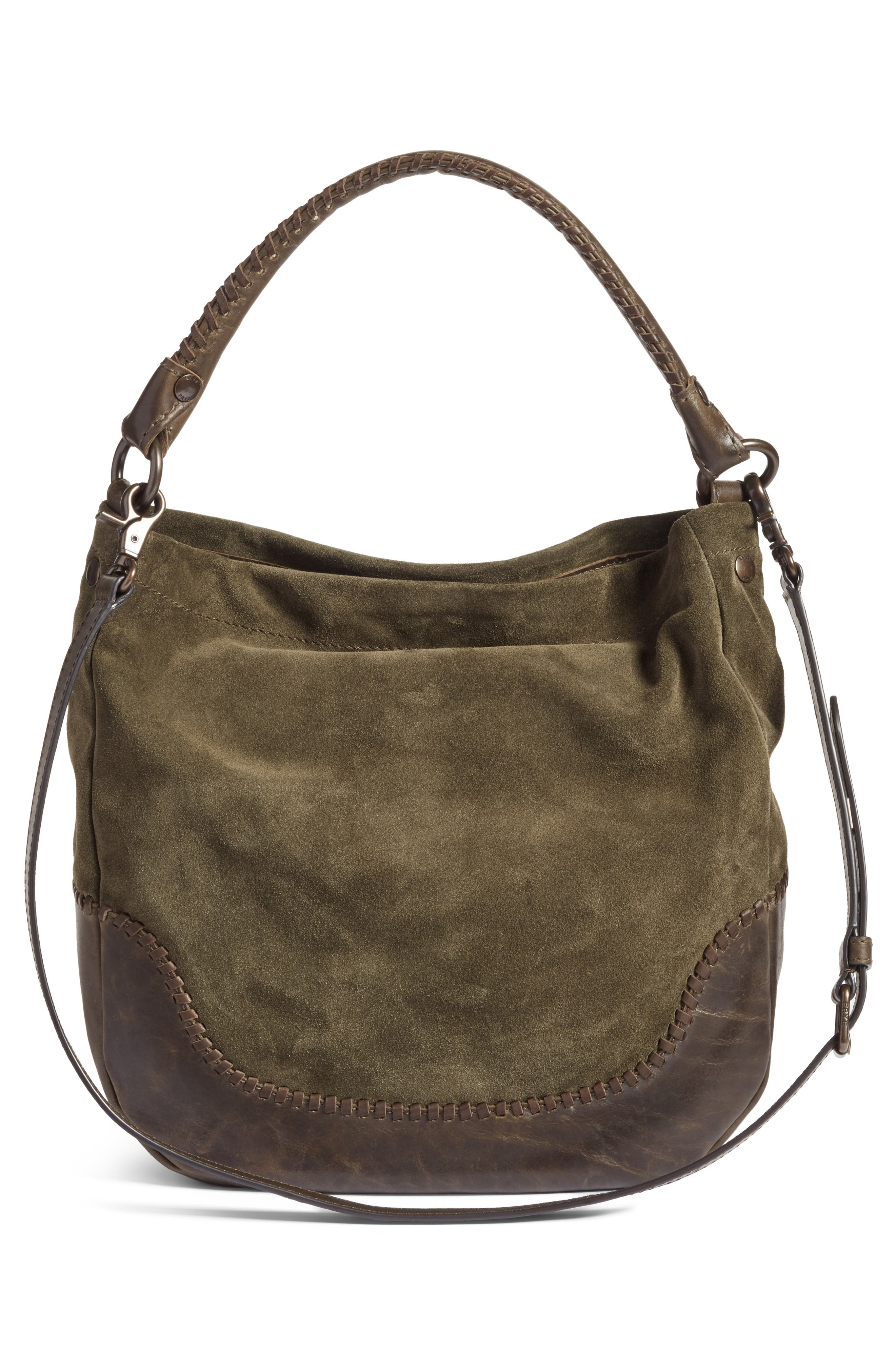 Melissa Suede & Whipstitch Leather Hobo,                             Alternate thumbnail 3, color,