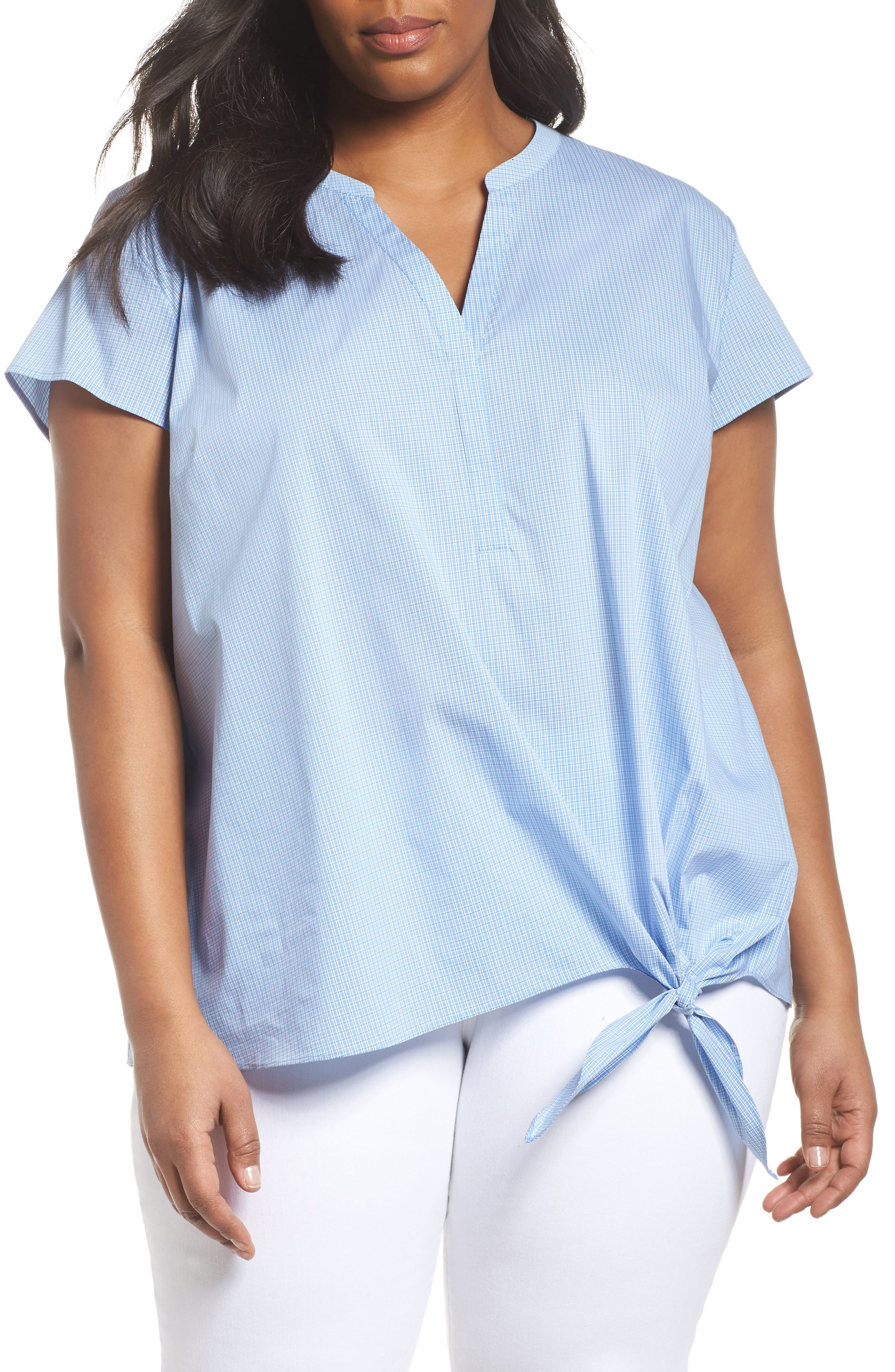 Side Tie Stretch Poplin Top,                             Main thumbnail 2, color,