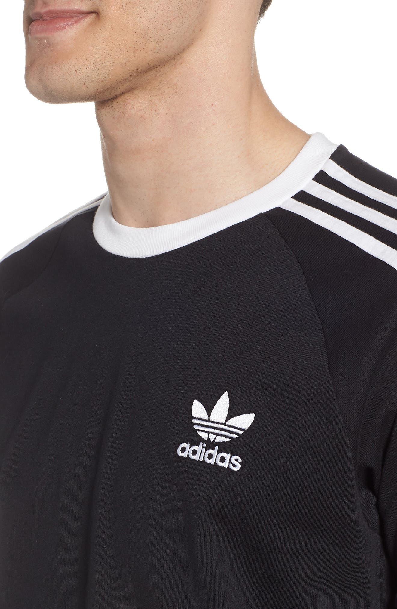 3-Stripes T-Shirt,                             Alternate thumbnail 4, color,                             BLACK