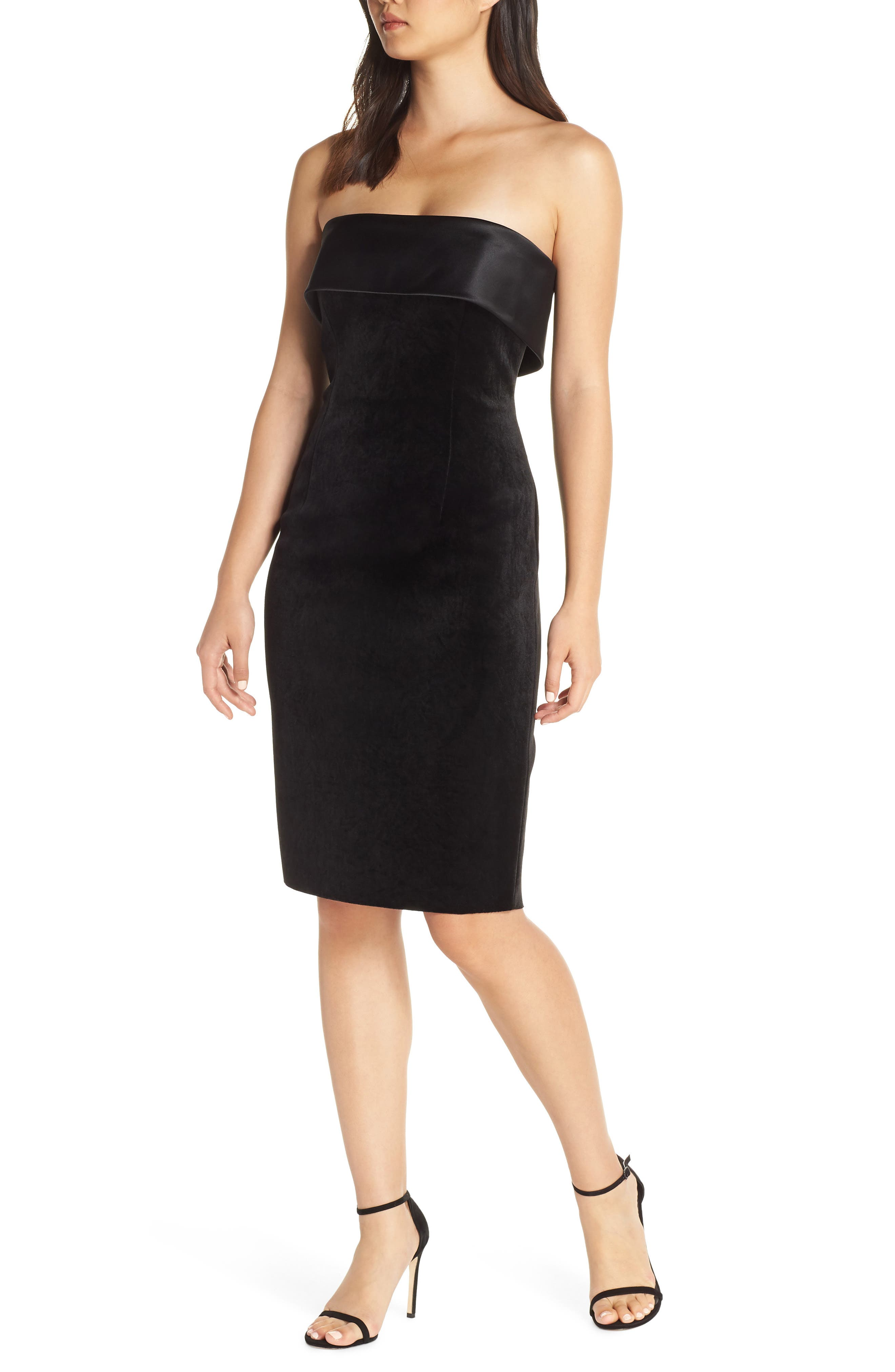 ELIZA J Strapless Shift Dress, Main, color, BLACK