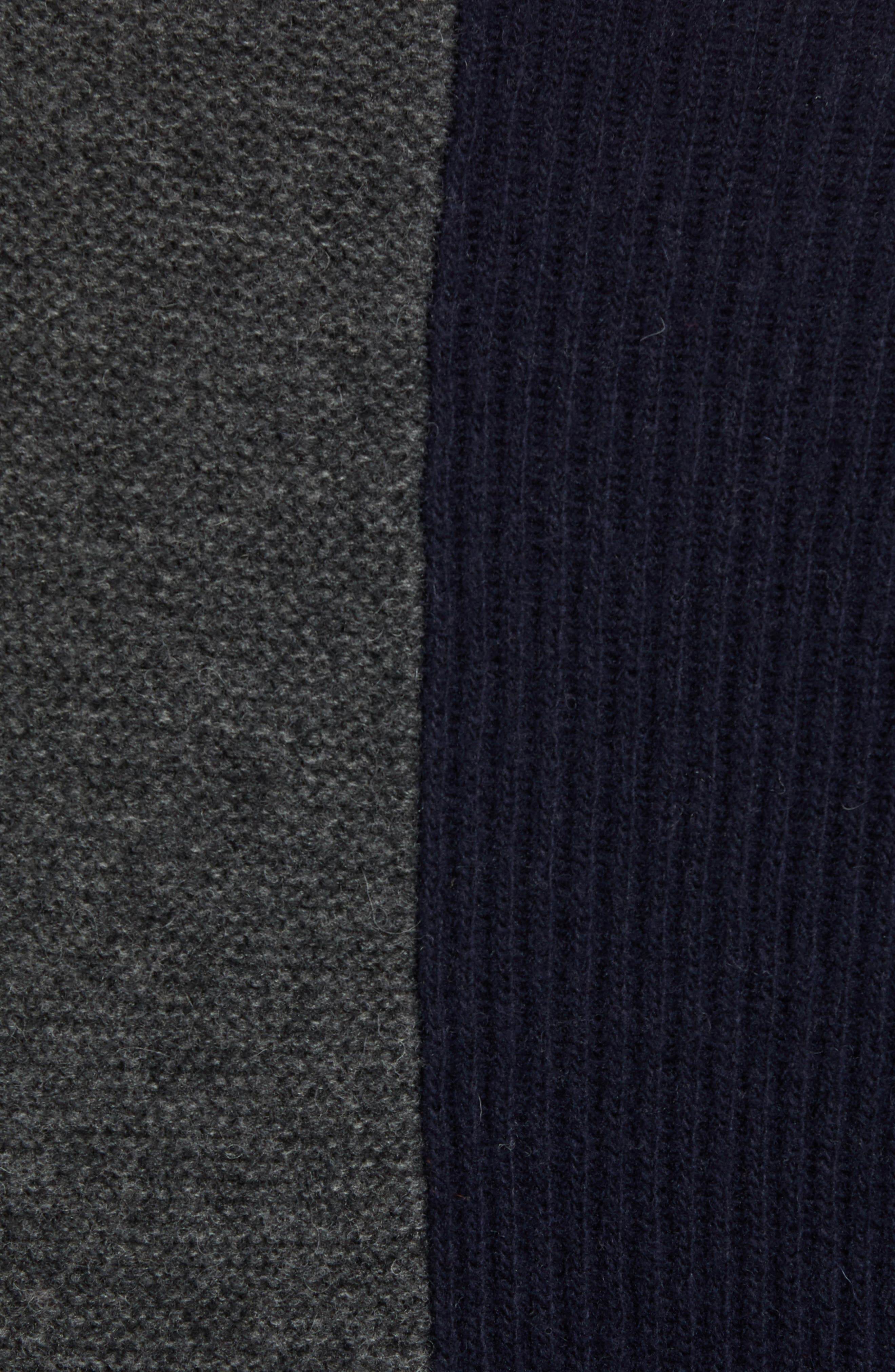 Mixed Texture Wool Blend Sweater,                             Alternate thumbnail 5, color,                             UTILITY BLUE CHARCOAL MELANGE