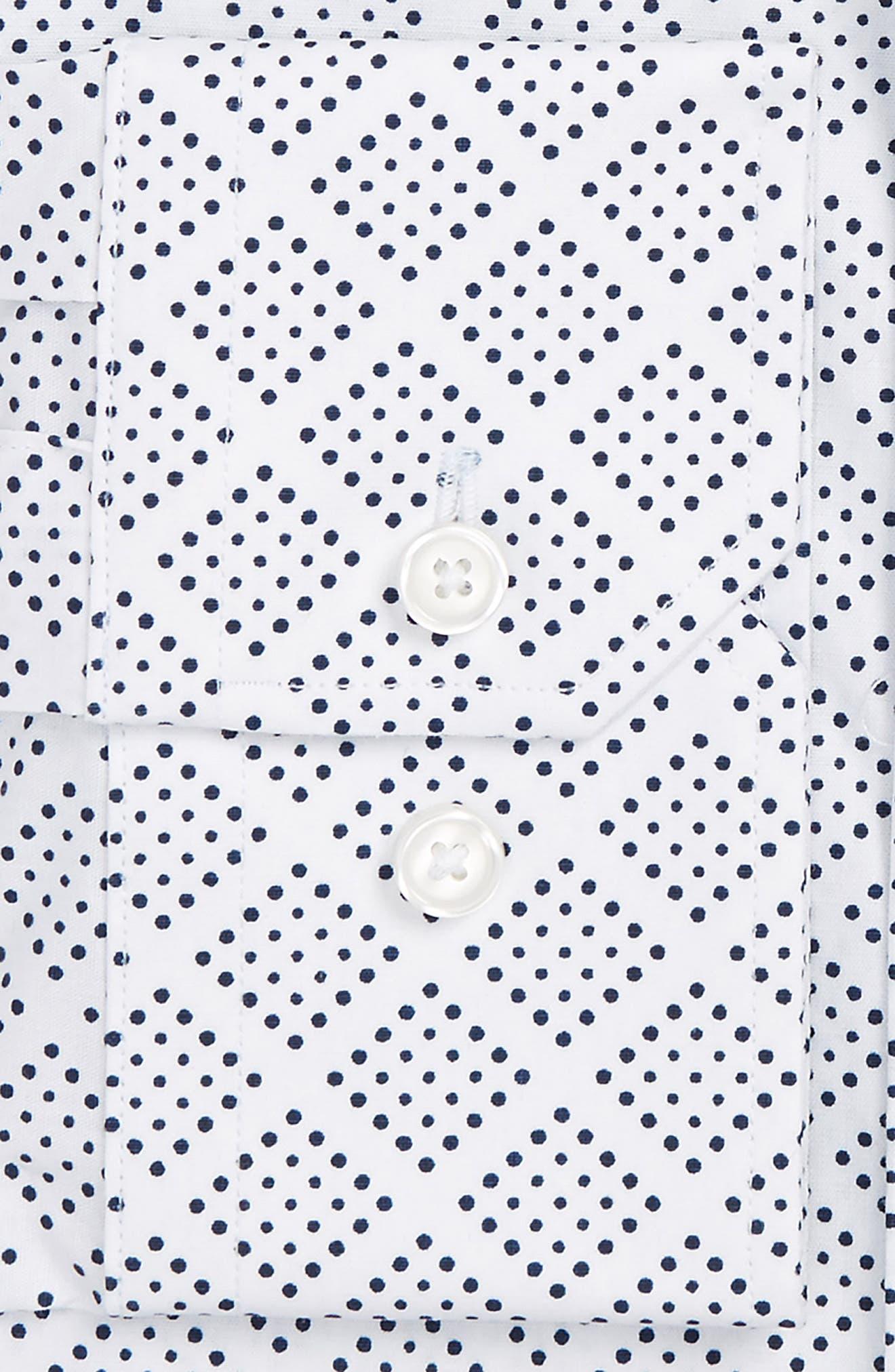 Trim Fit Non-Iron Graphic Stretch Dress Shirt,                             Alternate thumbnail 3, color,                             410
