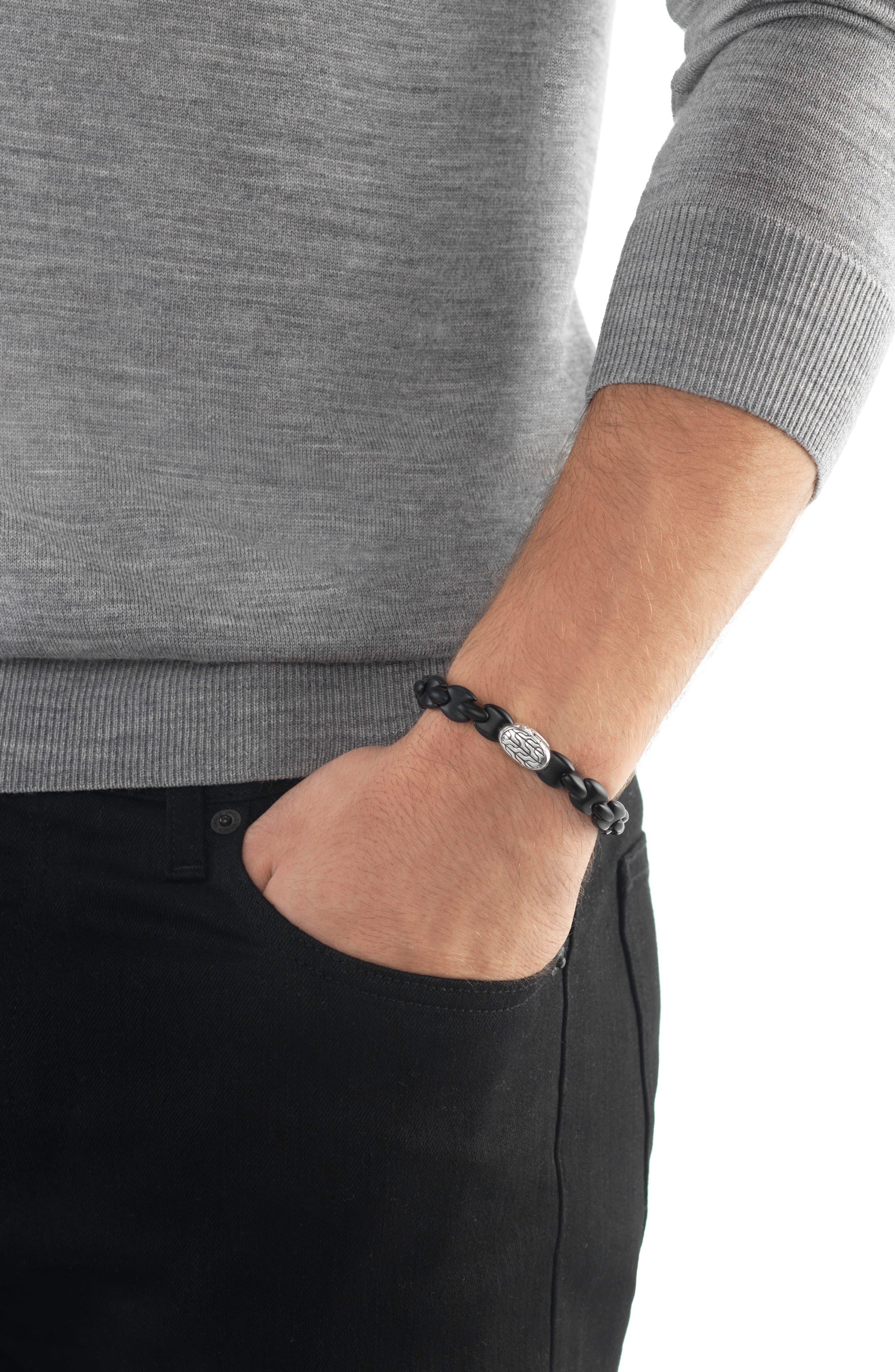 Men's Classic Chain Bead Bracelet,                             Alternate thumbnail 2, color,                             SILVER/ BLACK AGATE
