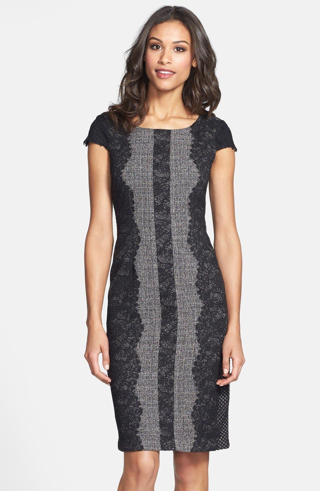 Lace Trim Tweed Sheath Dress,                             Alternate thumbnail 3, color,                             020