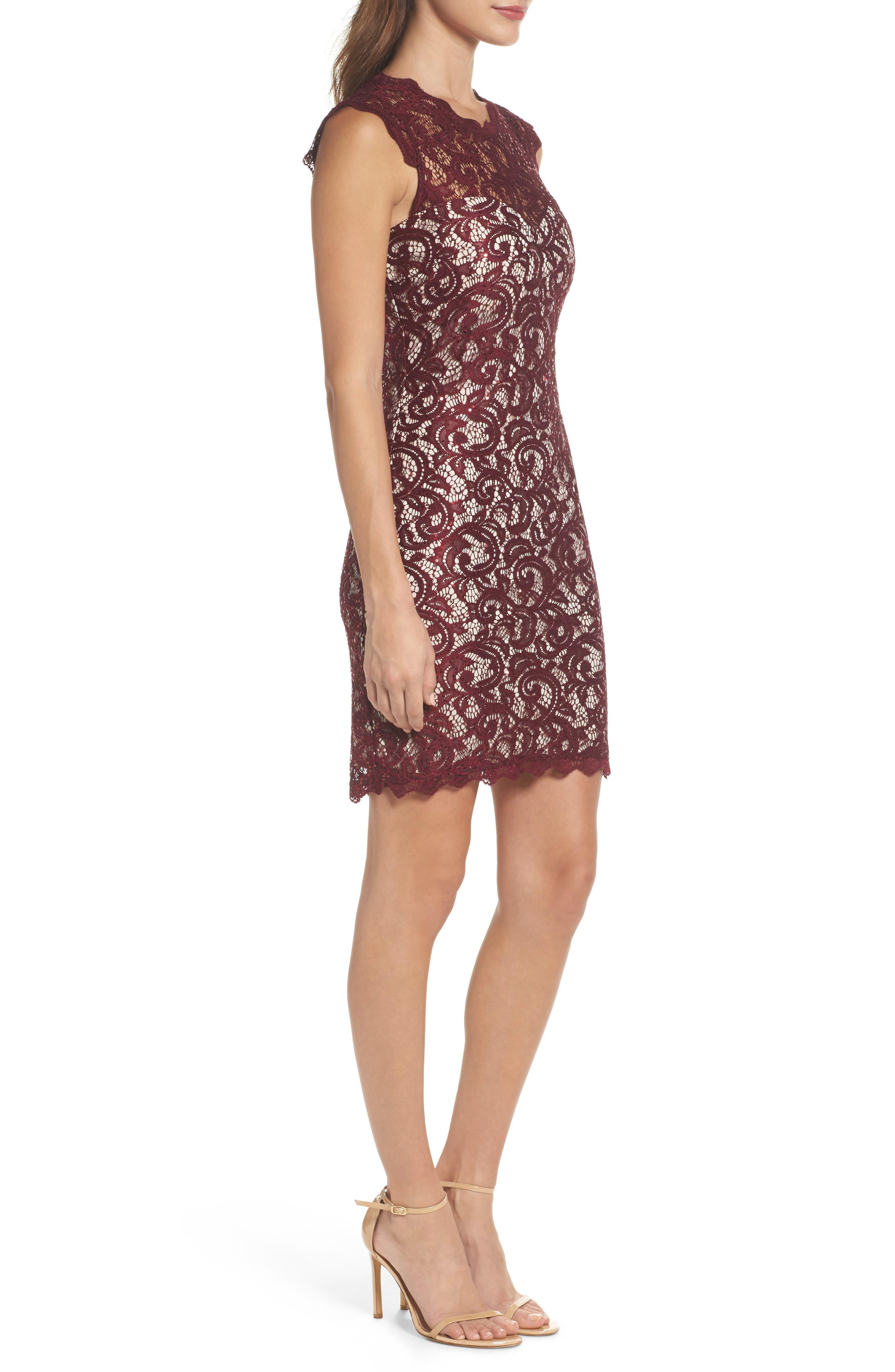 Sequin Lace Body-Con Dress,                             Alternate thumbnail 3, color,                             502