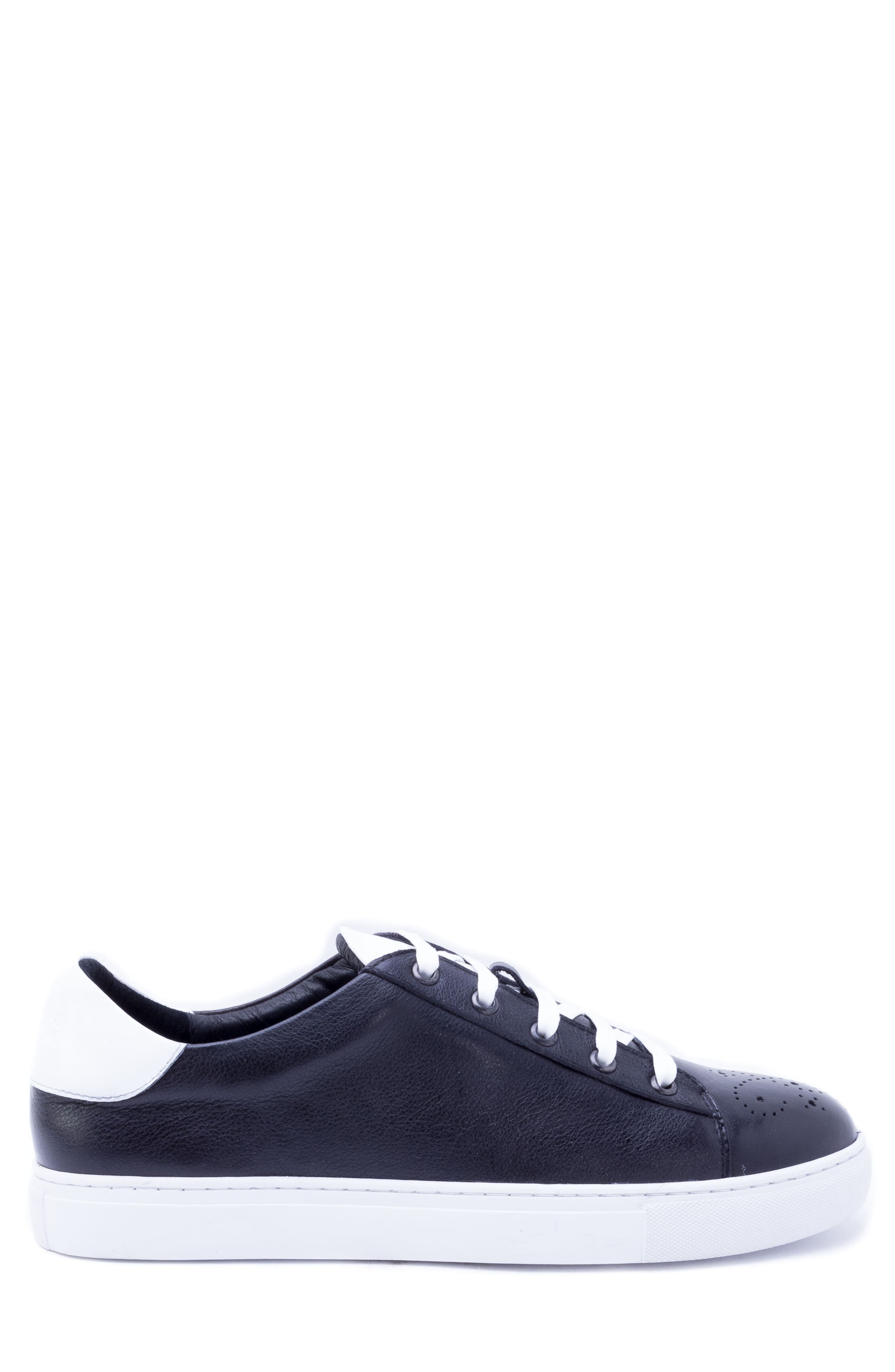 Sinatra Sneaker,                             Alternate thumbnail 3, color,                             BLACK LEATHER