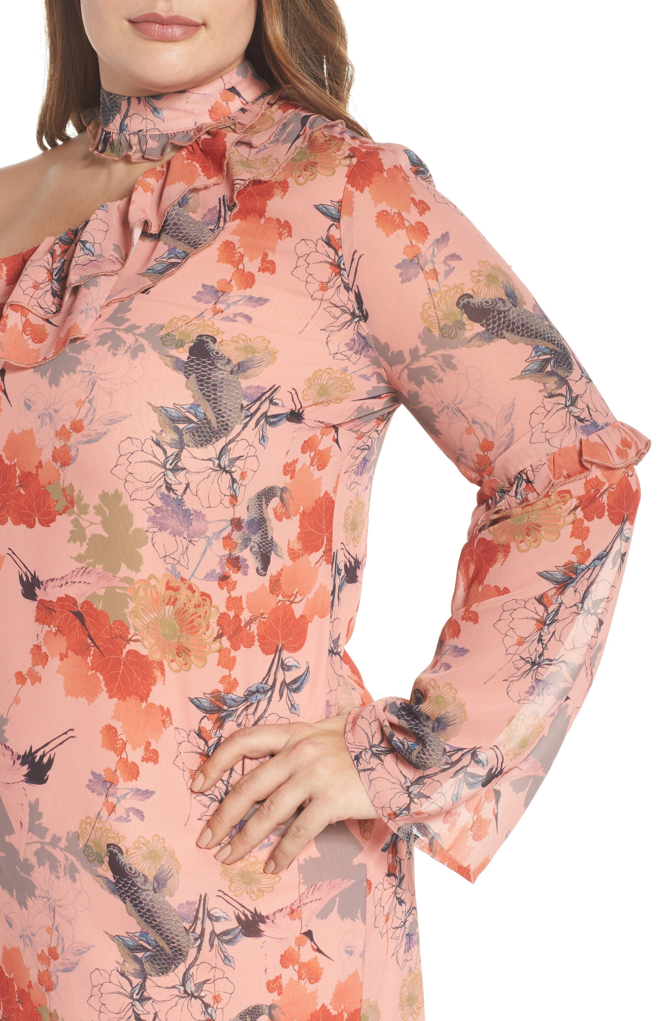 Choker One-Shoulder Dress,                             Alternate thumbnail 4, color,