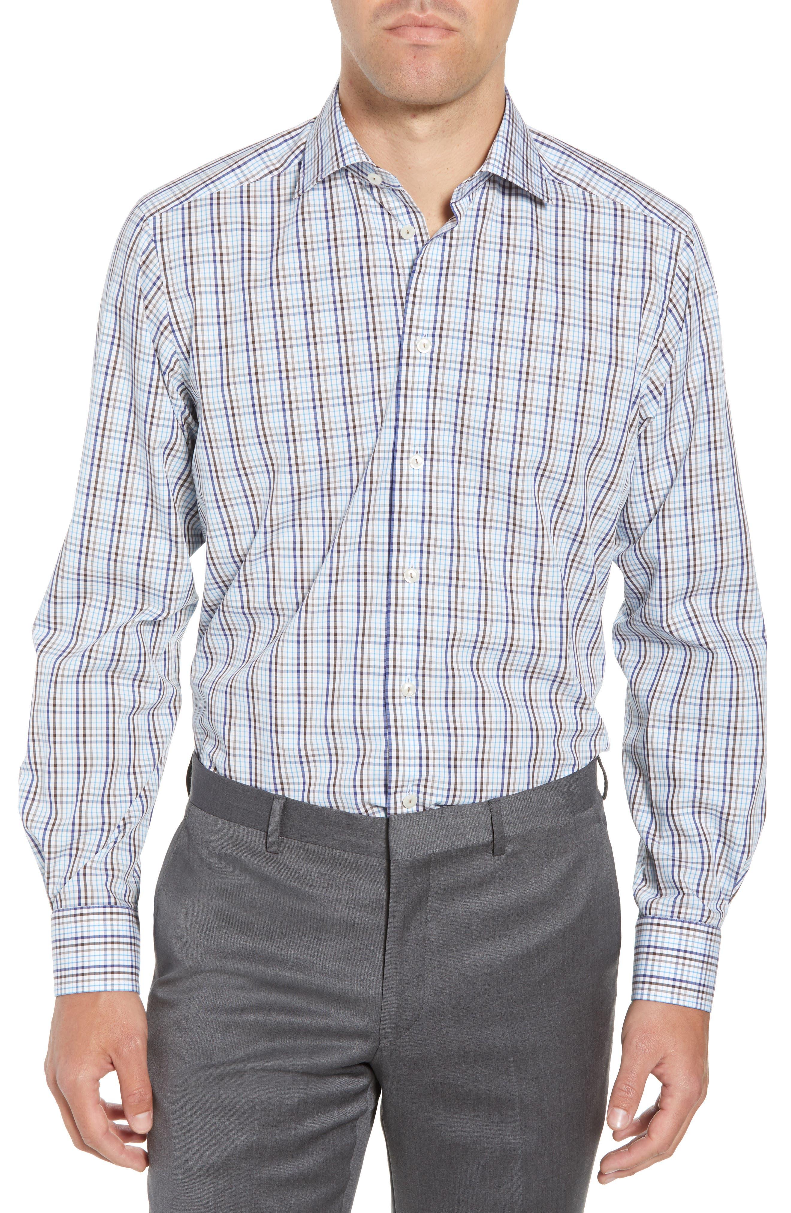Contemporary Fit Check Dress Shirt,                             Main thumbnail 1, color,                             MULTI