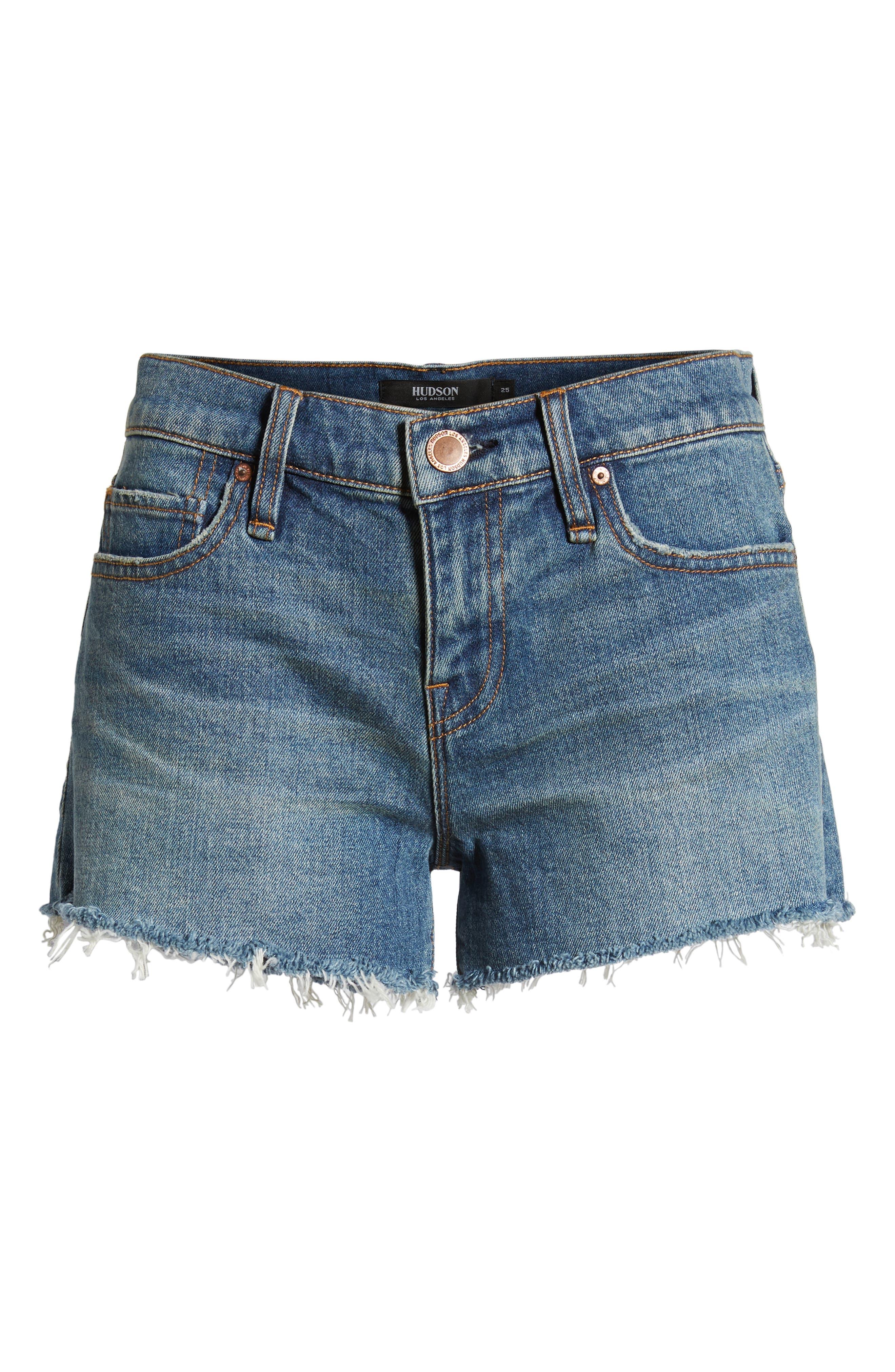 Gemma Cutoff Denim Shorts,                             Alternate thumbnail 6, color,                             VROOM