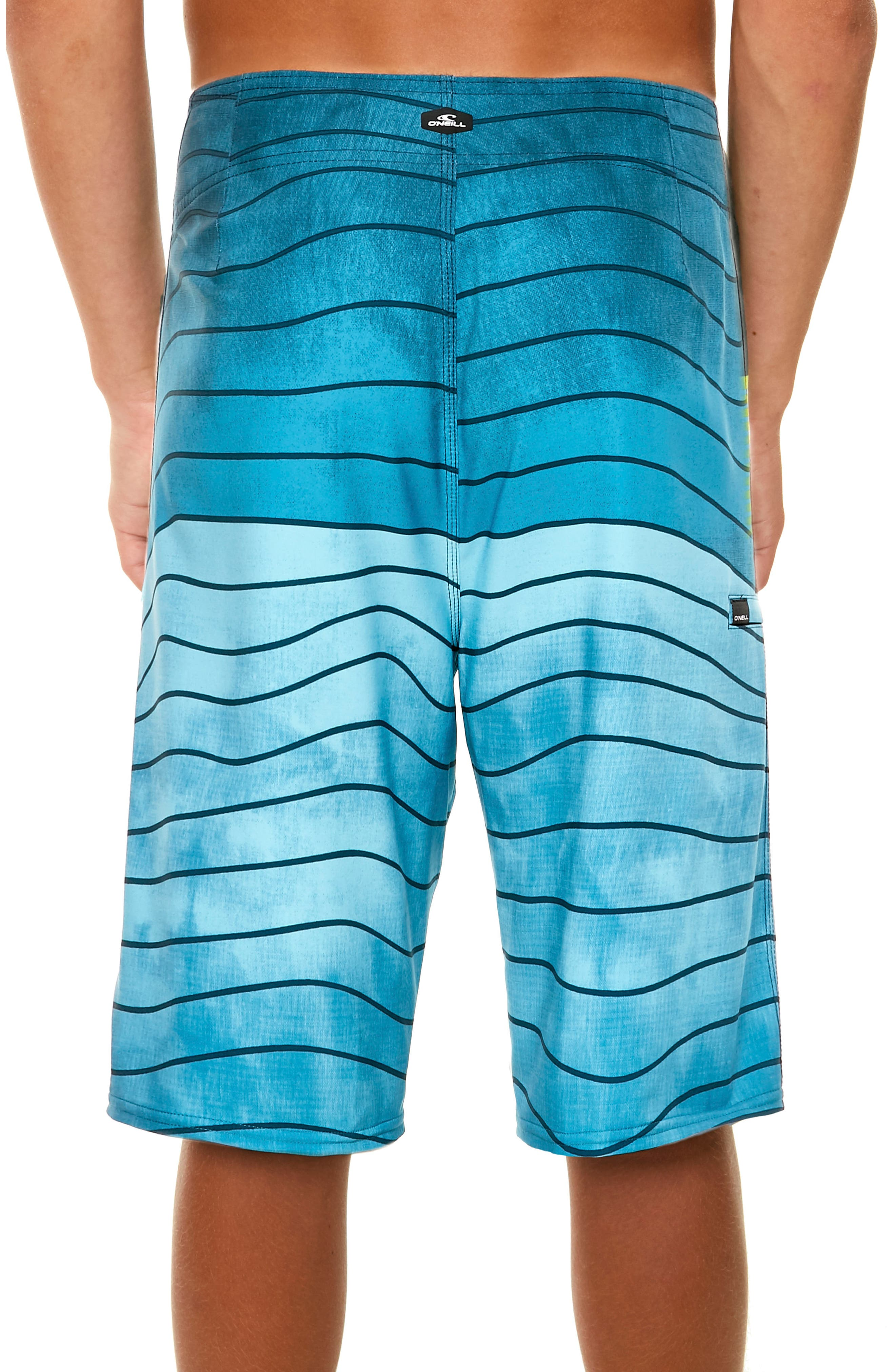 Hyperfreak Swell Stripe Board Shorts,                             Alternate thumbnail 6, color,