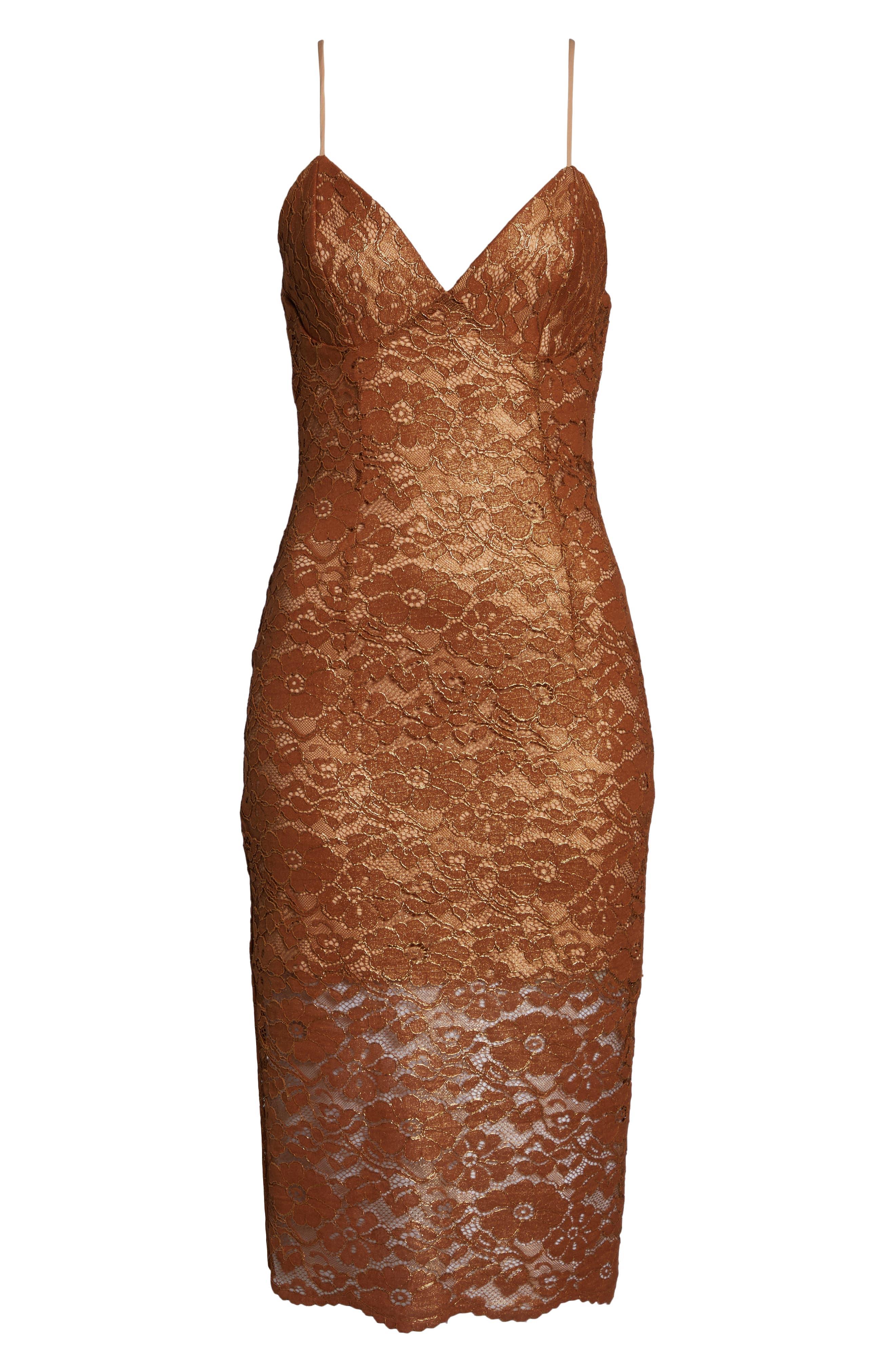 Metallic Lace Midi Sheath Dress,                             Alternate thumbnail 6, color,                             SOFT GOLD