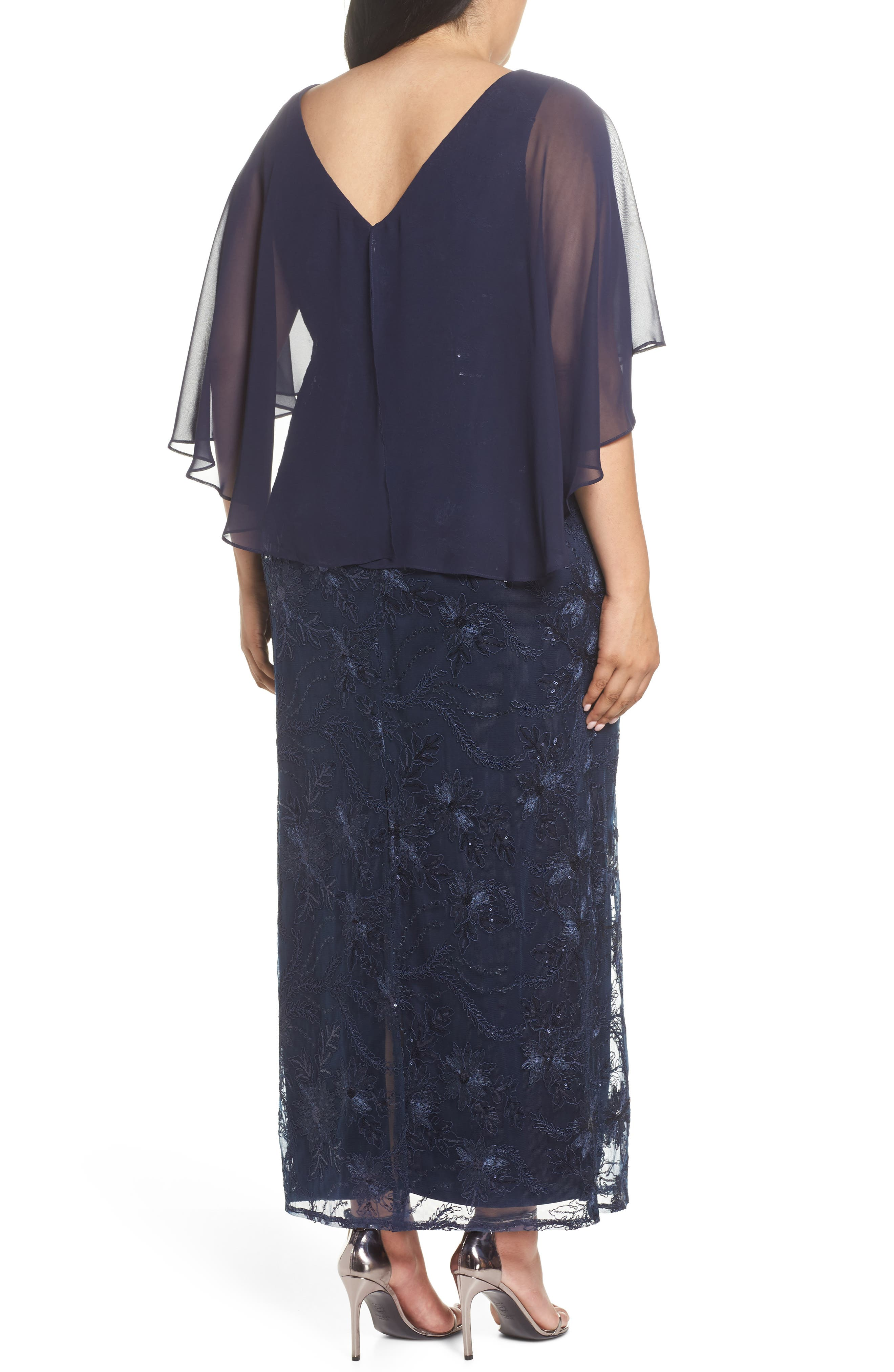 Embellished Capelet Gown,                             Alternate thumbnail 2, color,                             NAVY