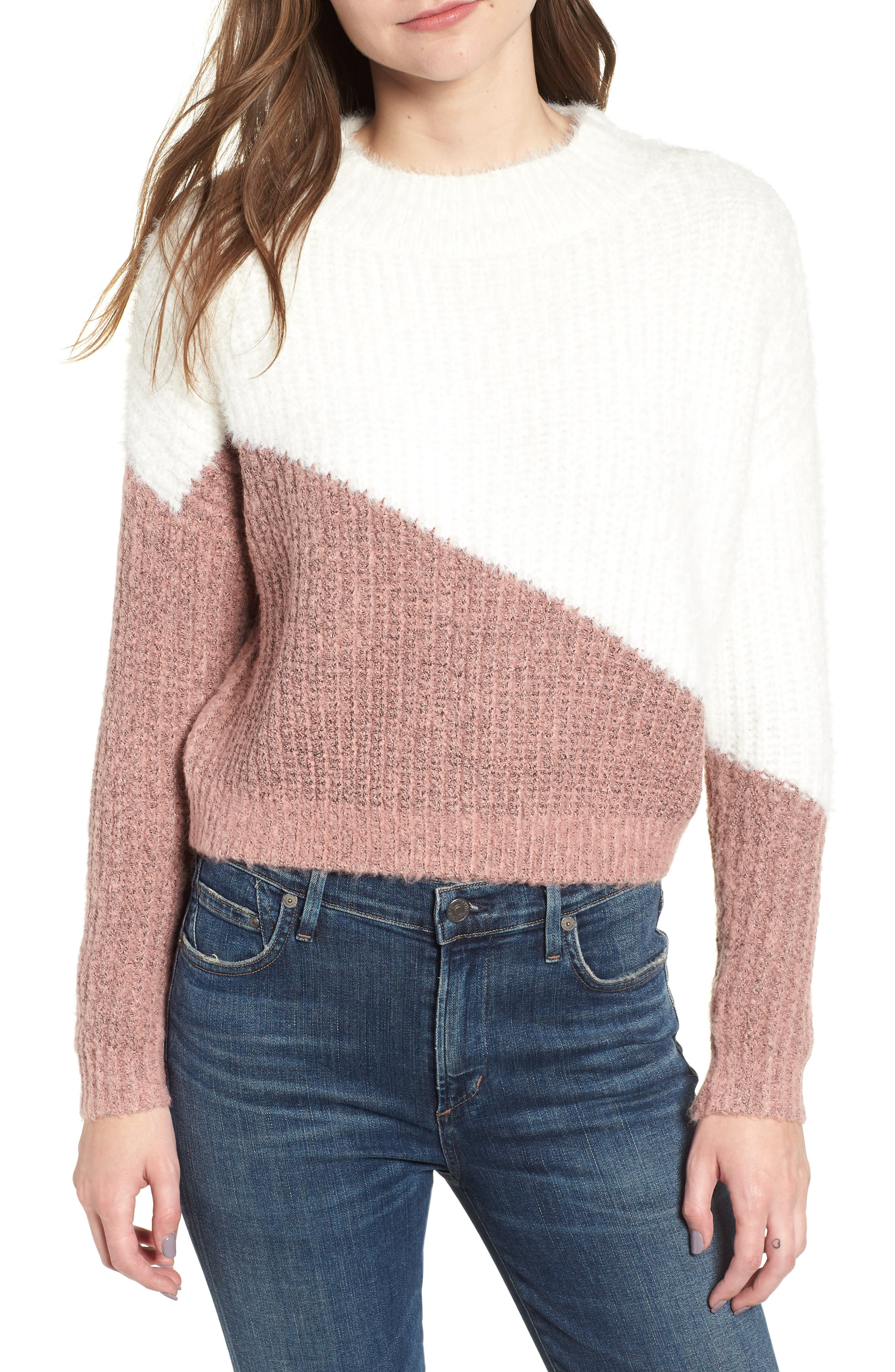 BISHOP + YOUNG,                             Diagonal Colorblock Sweater,                             Main thumbnail 1, color,                             650