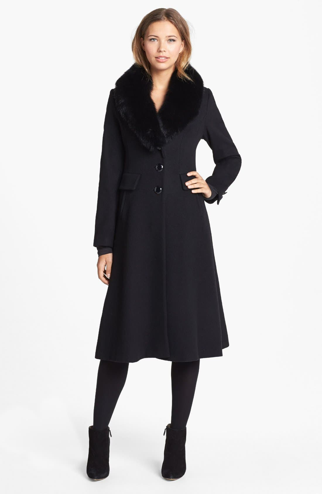 Couture Genuine Fox Fur Collar Coat,                             Main thumbnail 1, color,                             001