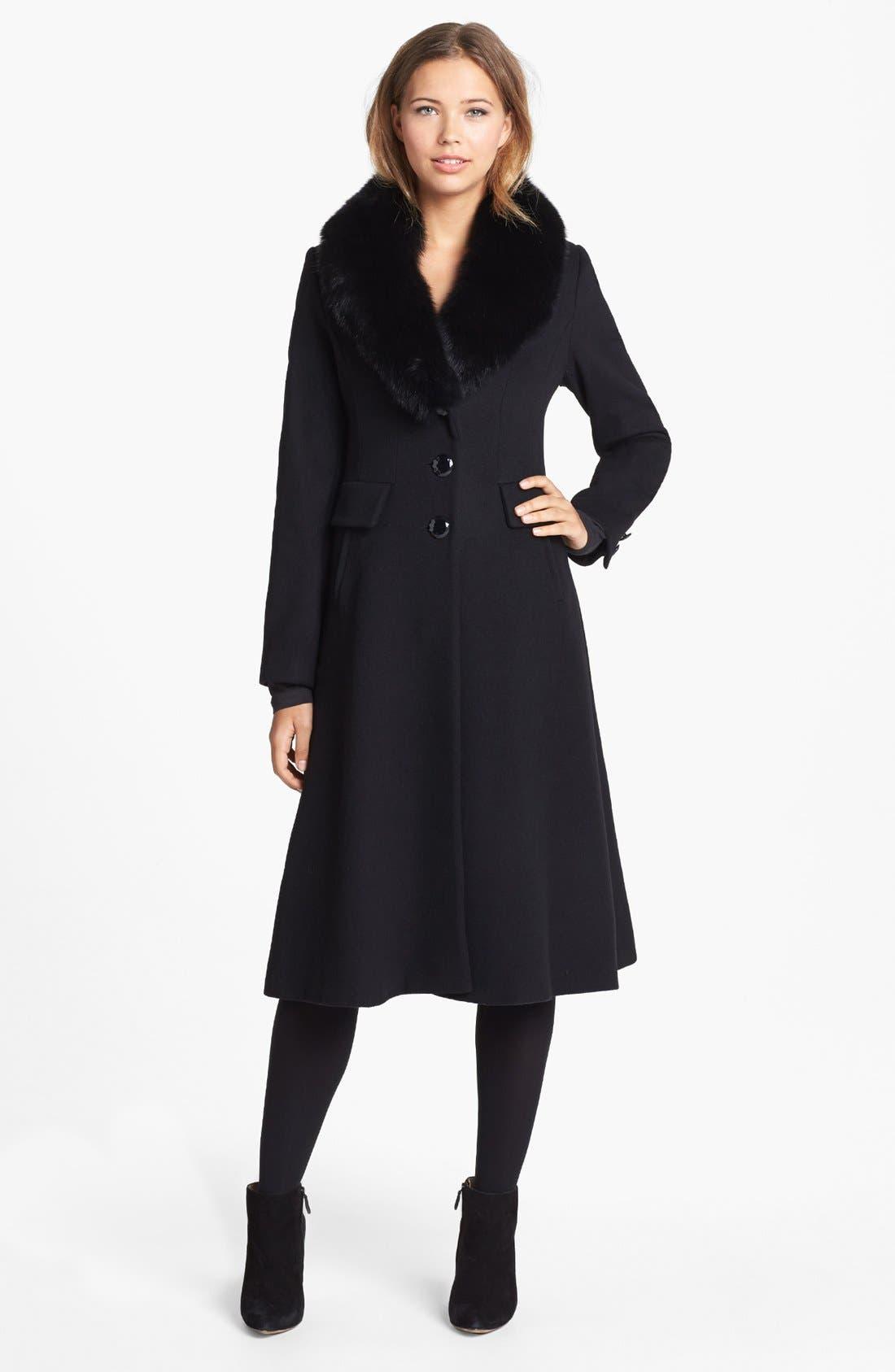 Couture Genuine Fox Fur Collar Coat, Main, color, 001
