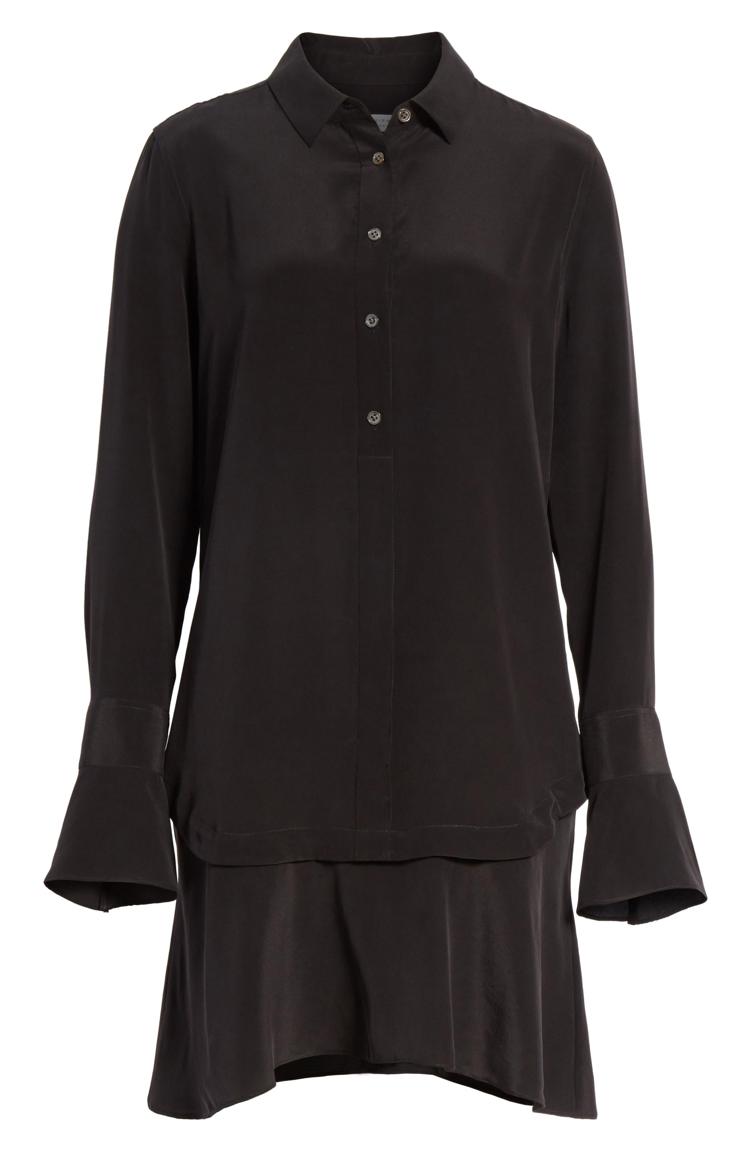 Daphne Silk Shirtdress,                             Alternate thumbnail 6, color,                             003
