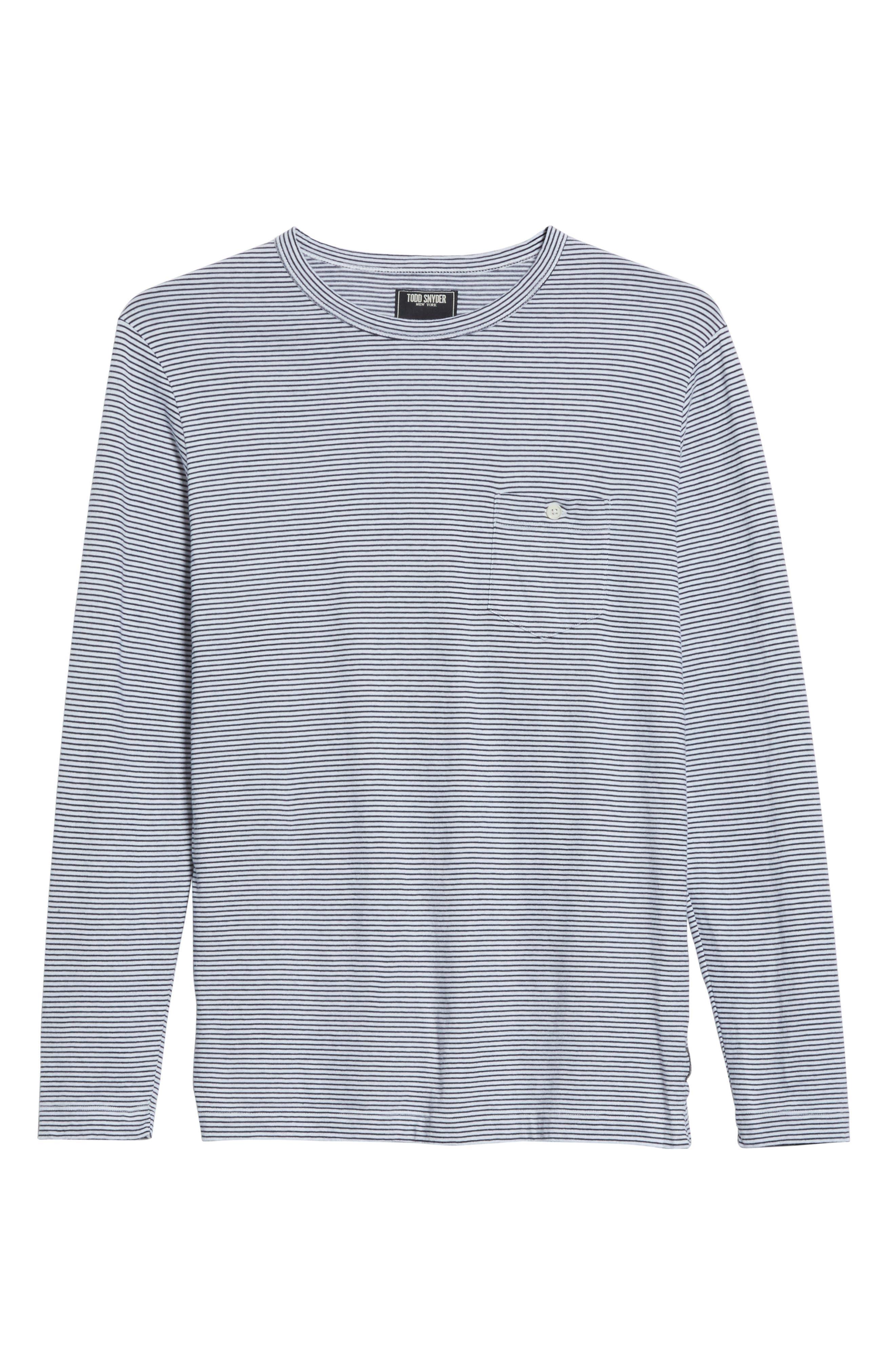 Stripe Long Sleeve T-Shirt,                             Alternate thumbnail 6, color,                             NAVY