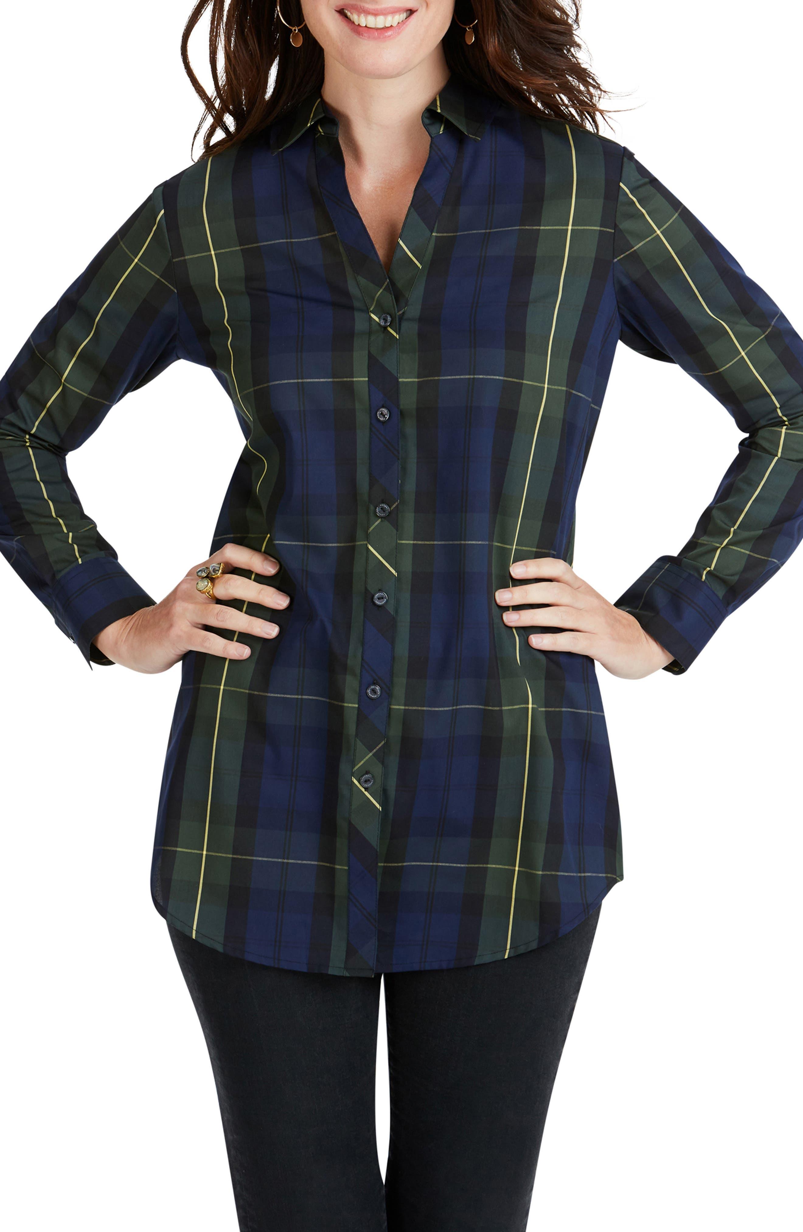 Foxcroft Faith Lenox Tartan Shirt, Blue