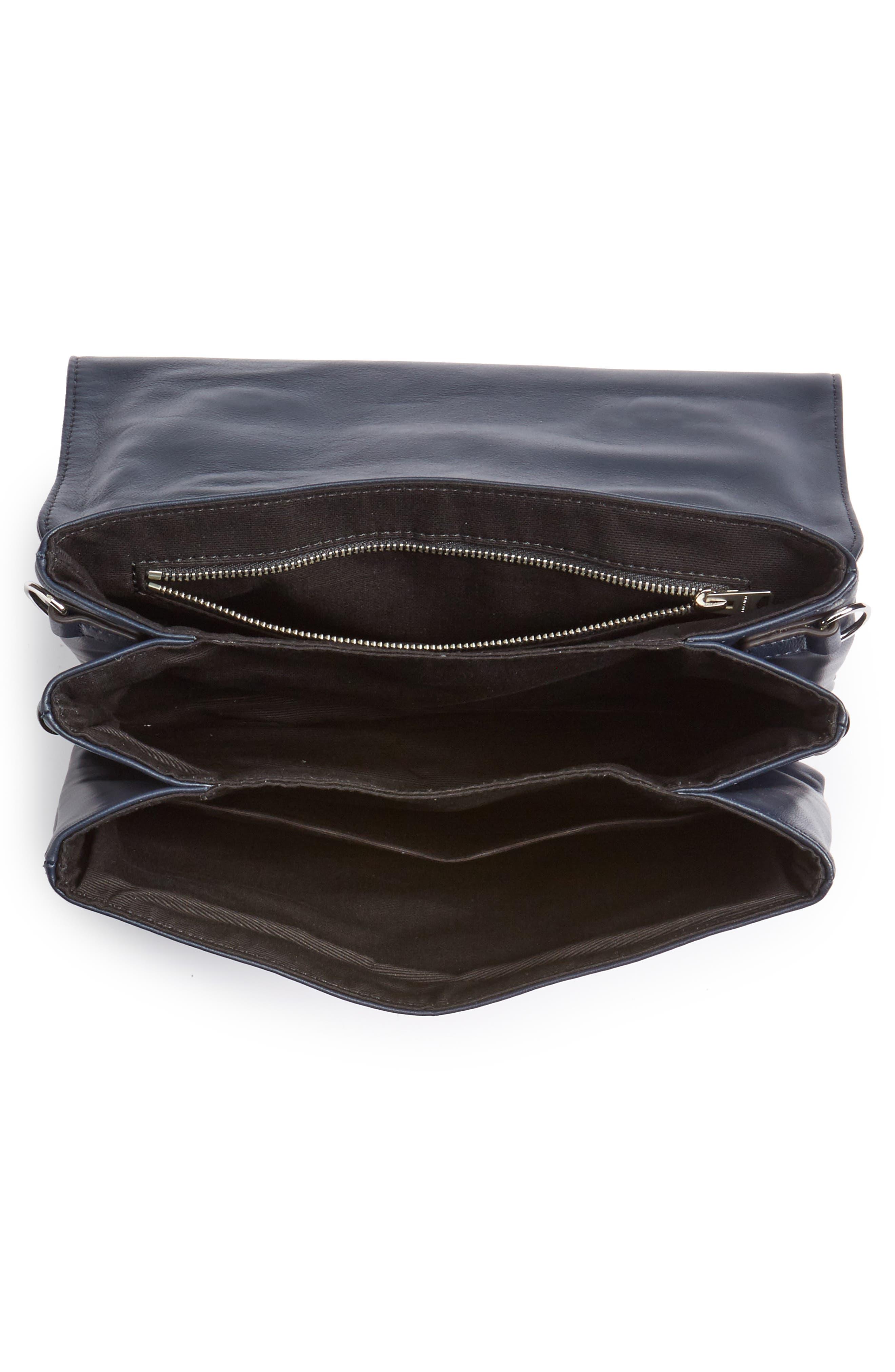 Fin Lambskin Leather Messenger Bag,                             Alternate thumbnail 8, color,