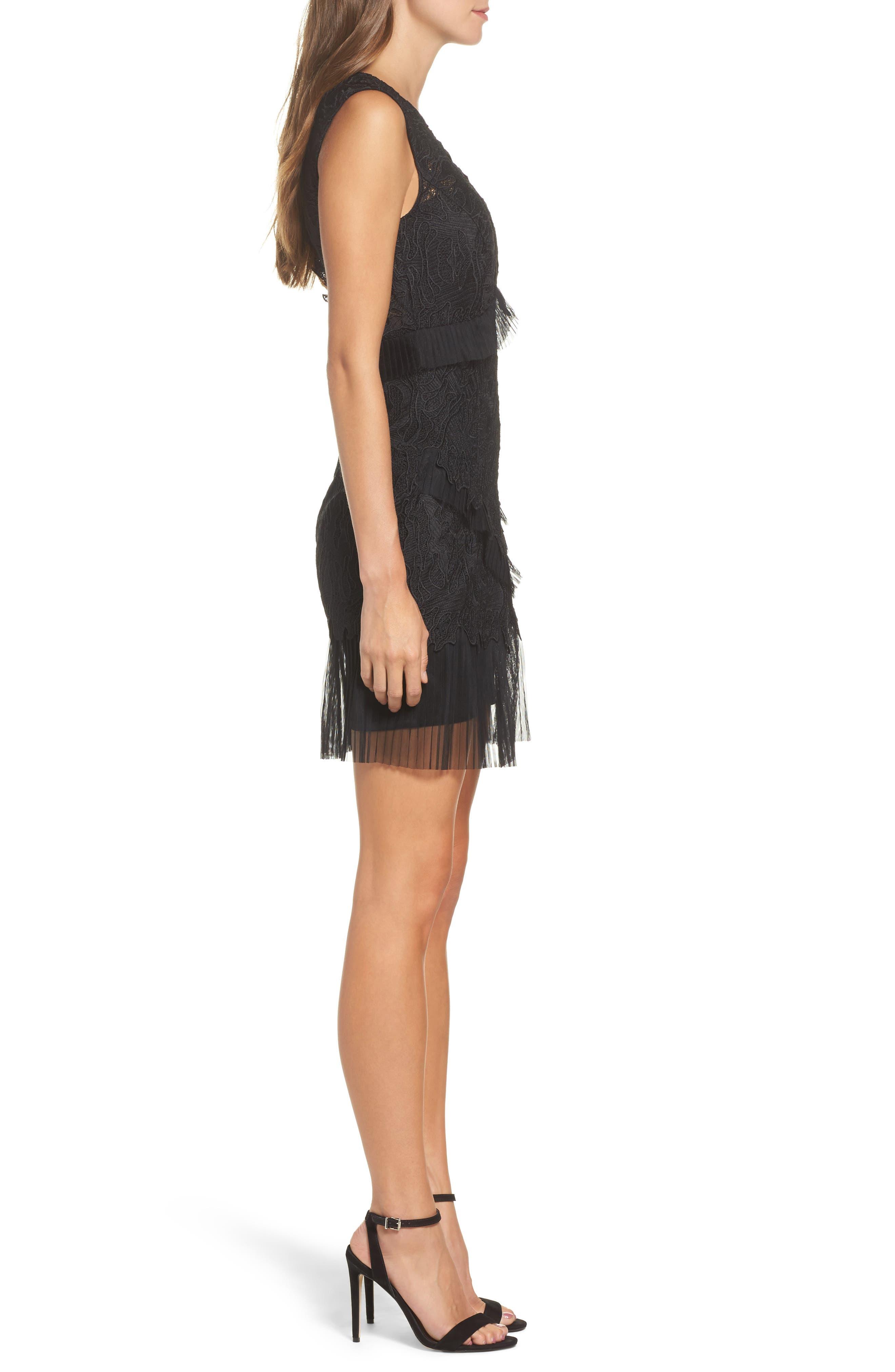 Ruffle Trim Lace Sheath Dress,                             Alternate thumbnail 3, color,                             001
