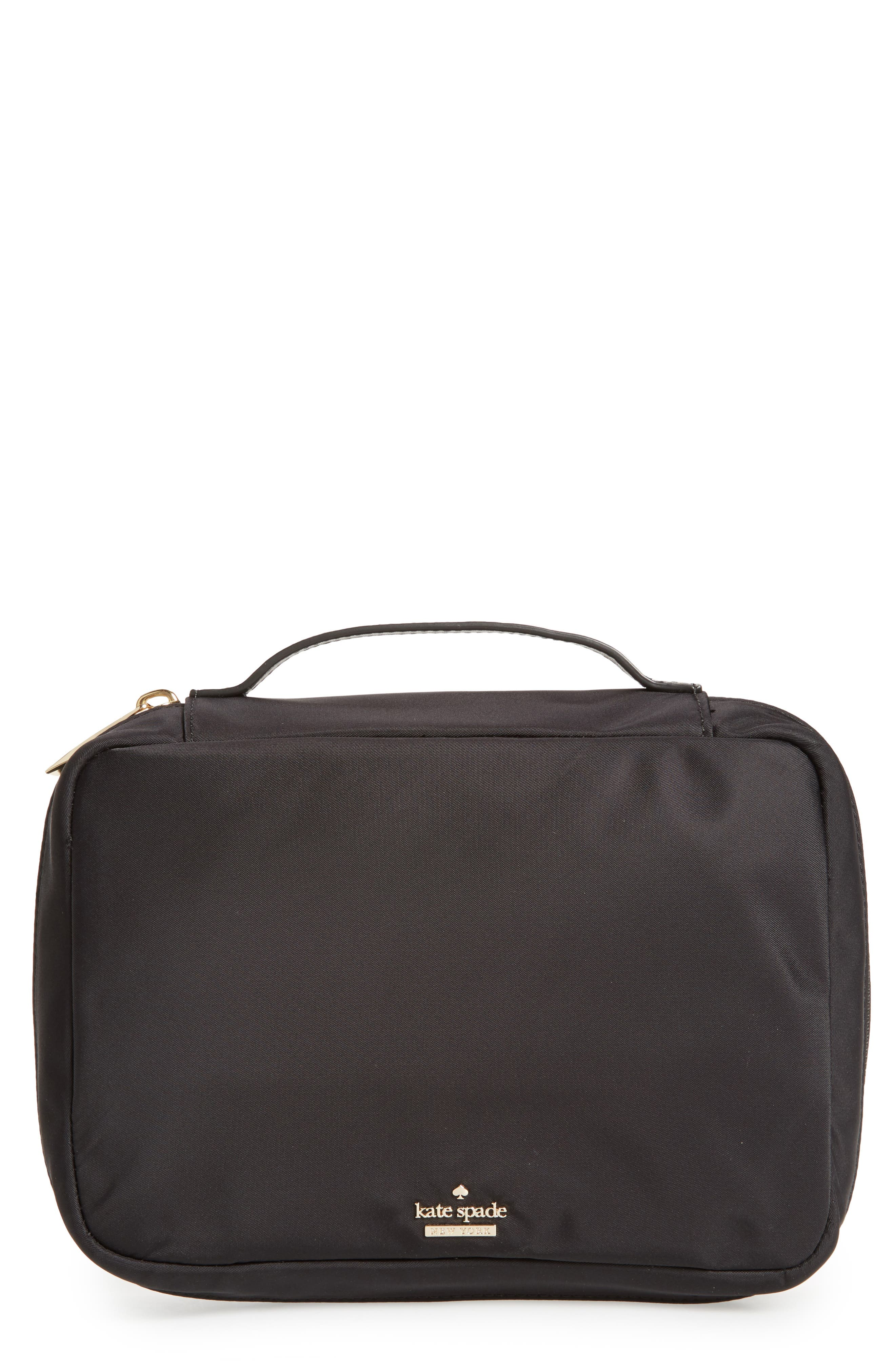 classic baylor nylon cosmetics case,                             Main thumbnail 1, color,                             BLACK
