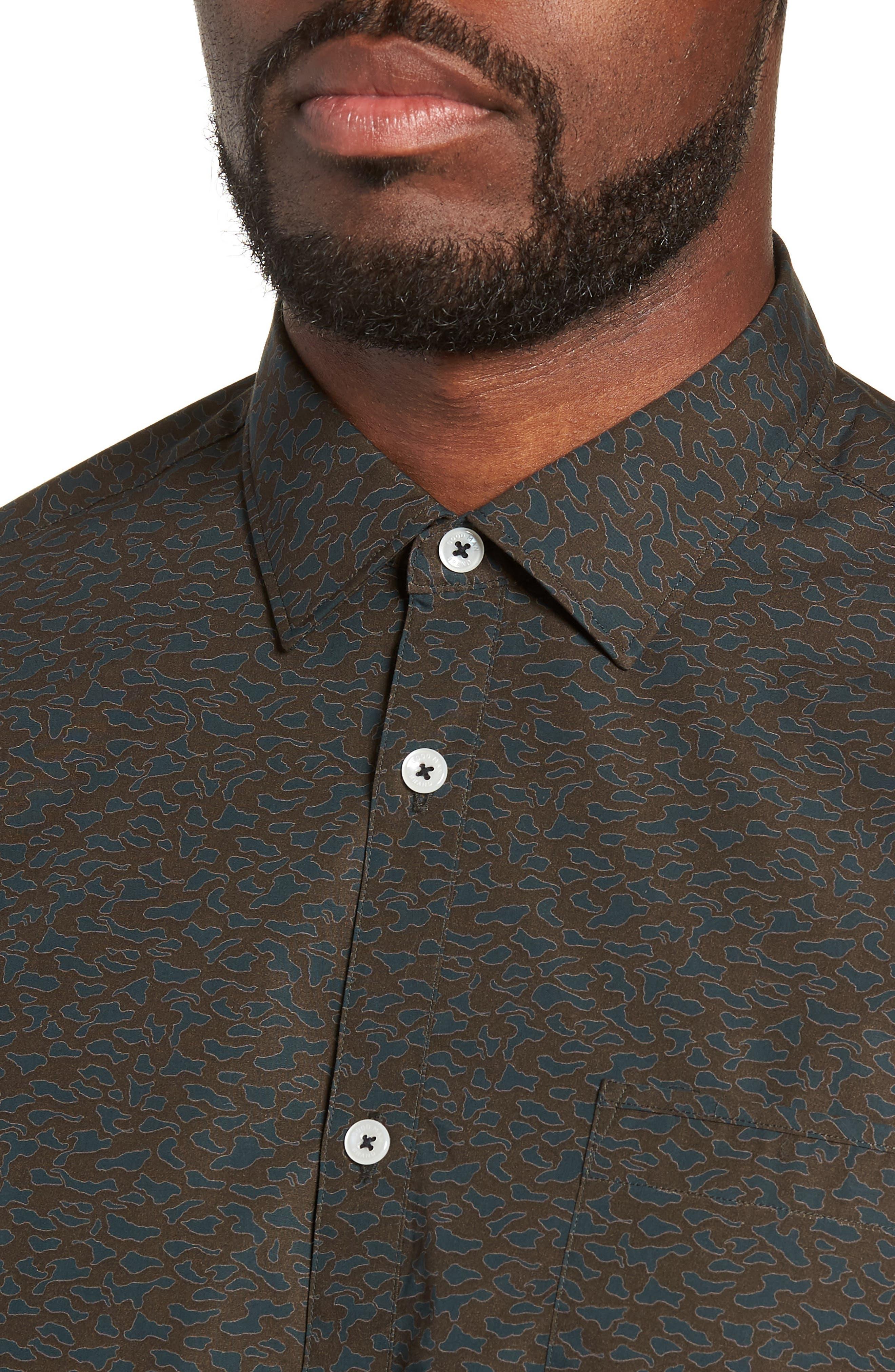 Camo Slim Fit Cotton Sport Shirt,                             Alternate thumbnail 4, color,                             FOREST