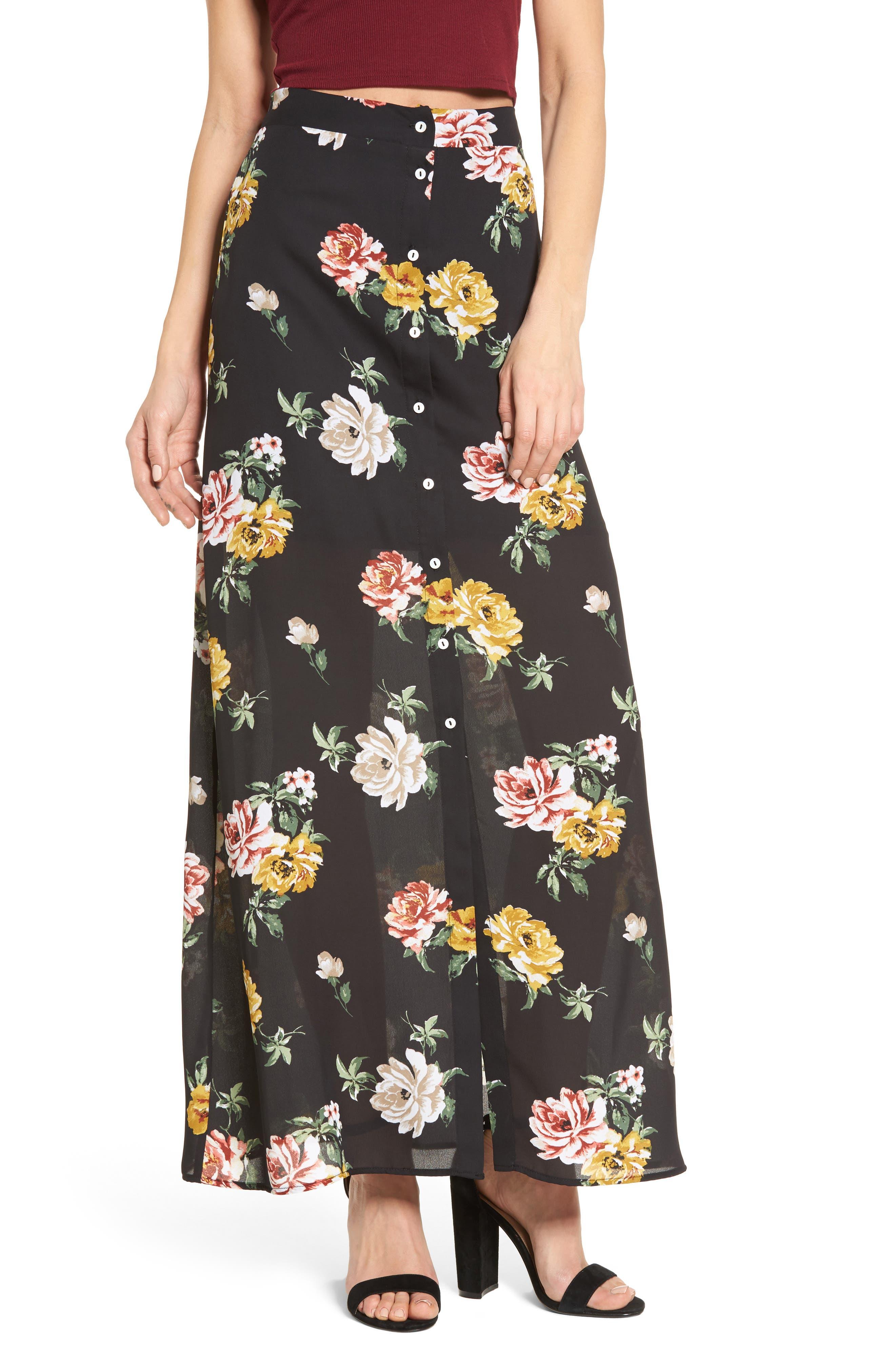 Floral Print Maxi Skirt,                             Main thumbnail 1, color,                             001