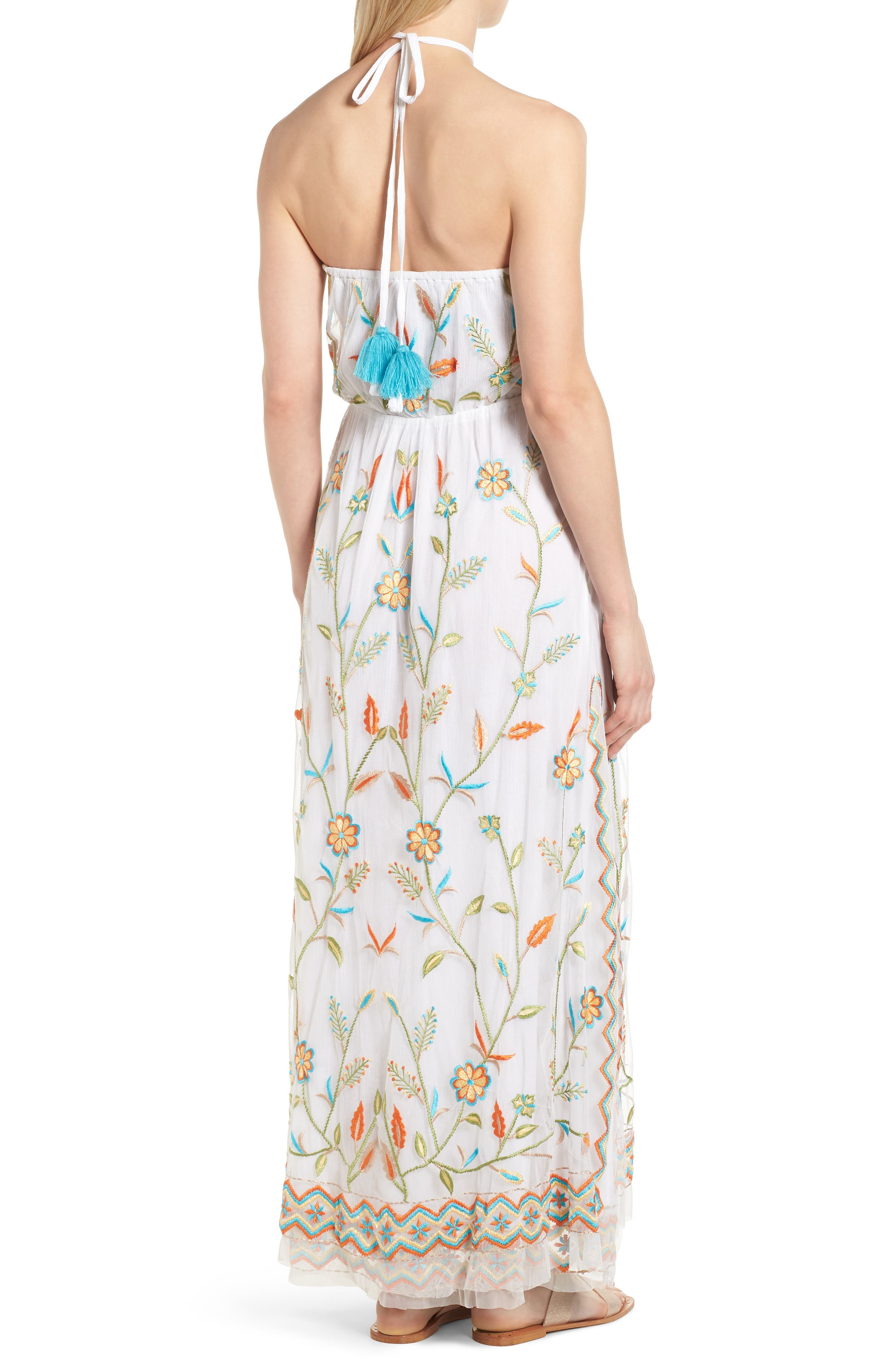 Eve Embroidered Maxi Dress,                             Alternate thumbnail 2, color,                             WHITE