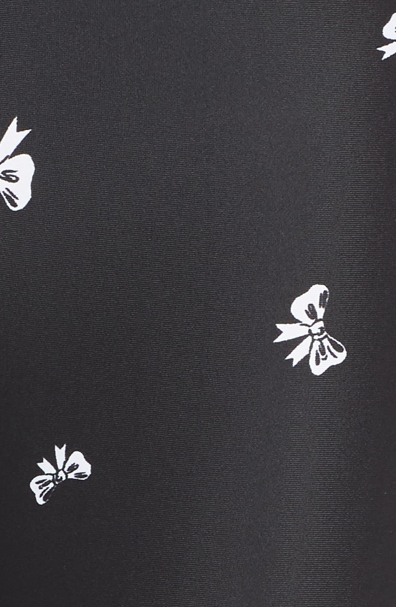 Bows Power Pant Crop Leggings,                             Alternate thumbnail 6, color,                             BLACK/ WHITE