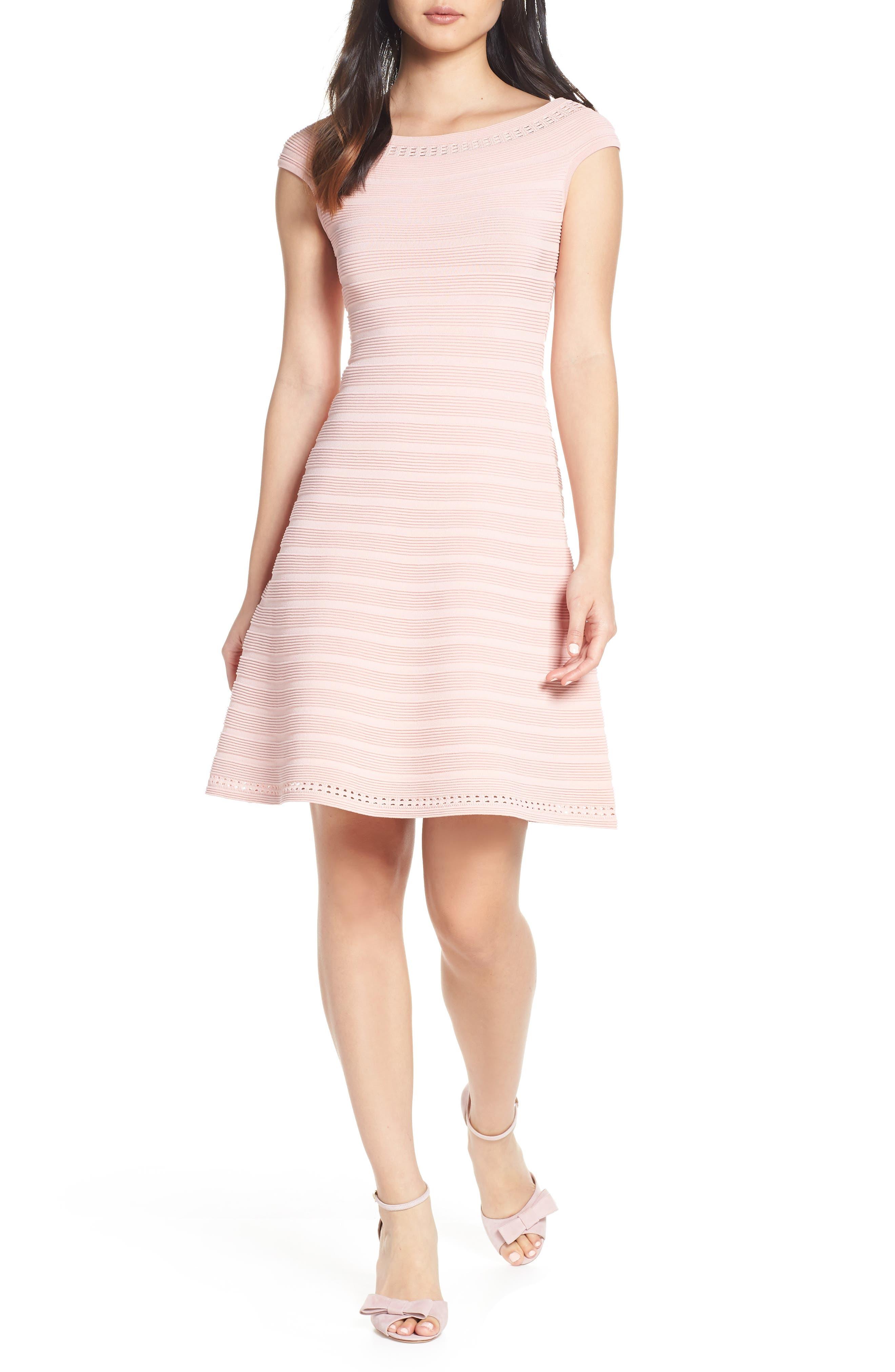 Eliza J Off The Shoulder Sweater Dress, Pink