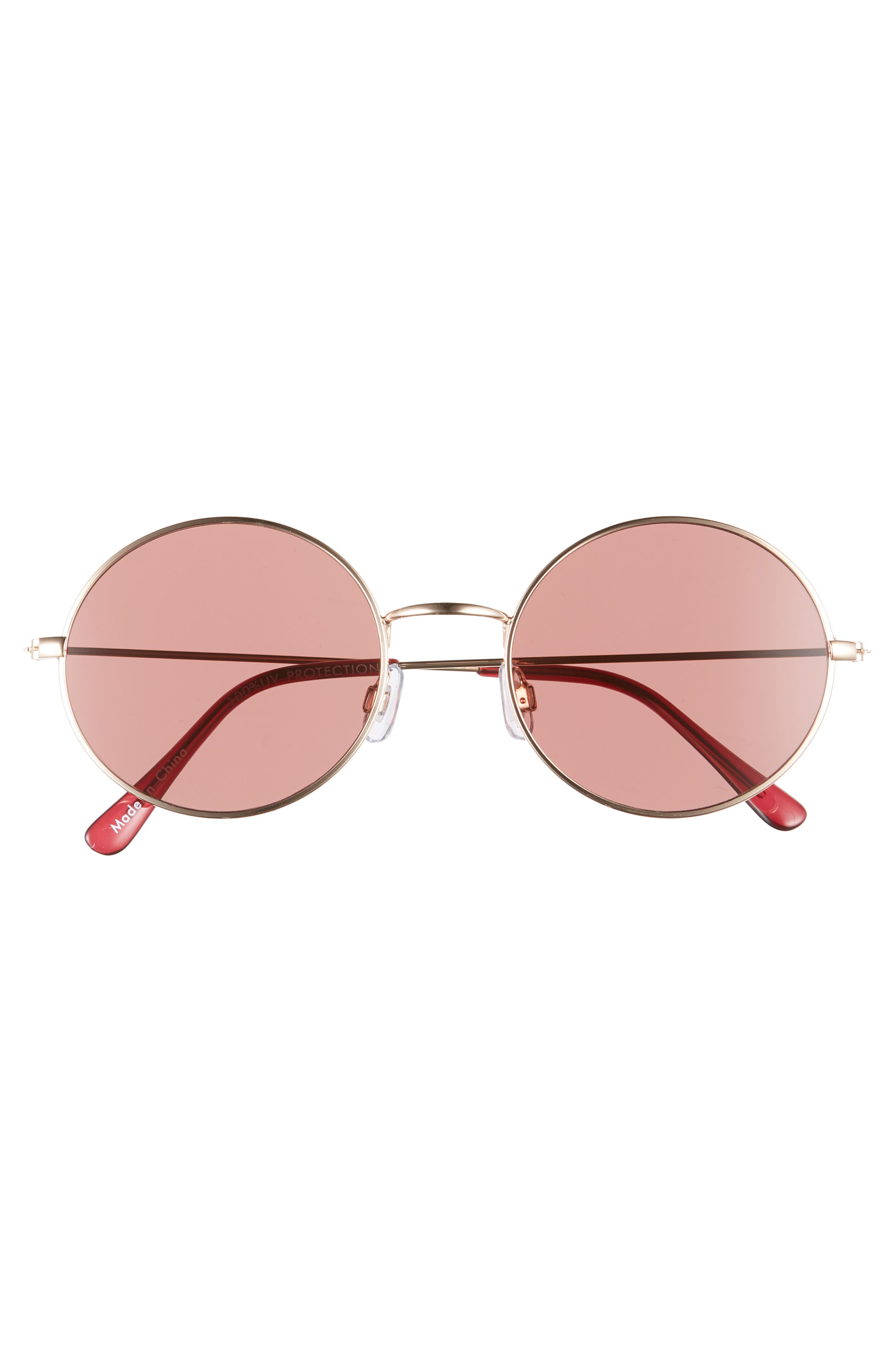 53mm Flat Round Sunglasses,                             Alternate thumbnail 3, color,                             GOLD/ BROWN