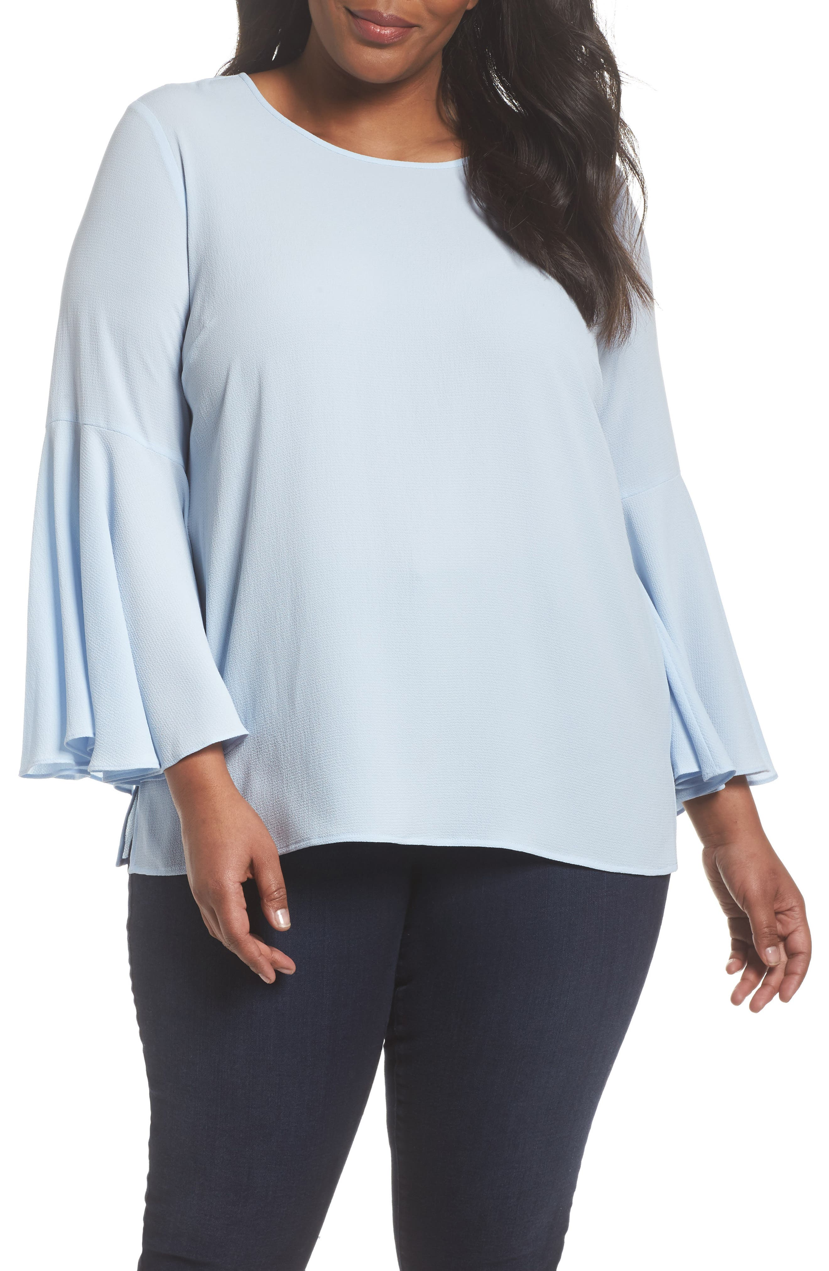 Bell Sleeve Blouse,                             Main thumbnail 1, color,                             LIGHT CAMEO BLUE