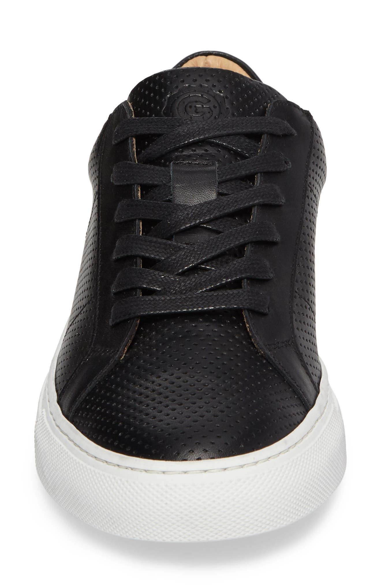 Royale Low Top Sneaker,                             Alternate thumbnail 4, color,                             BLACK PERFORATED