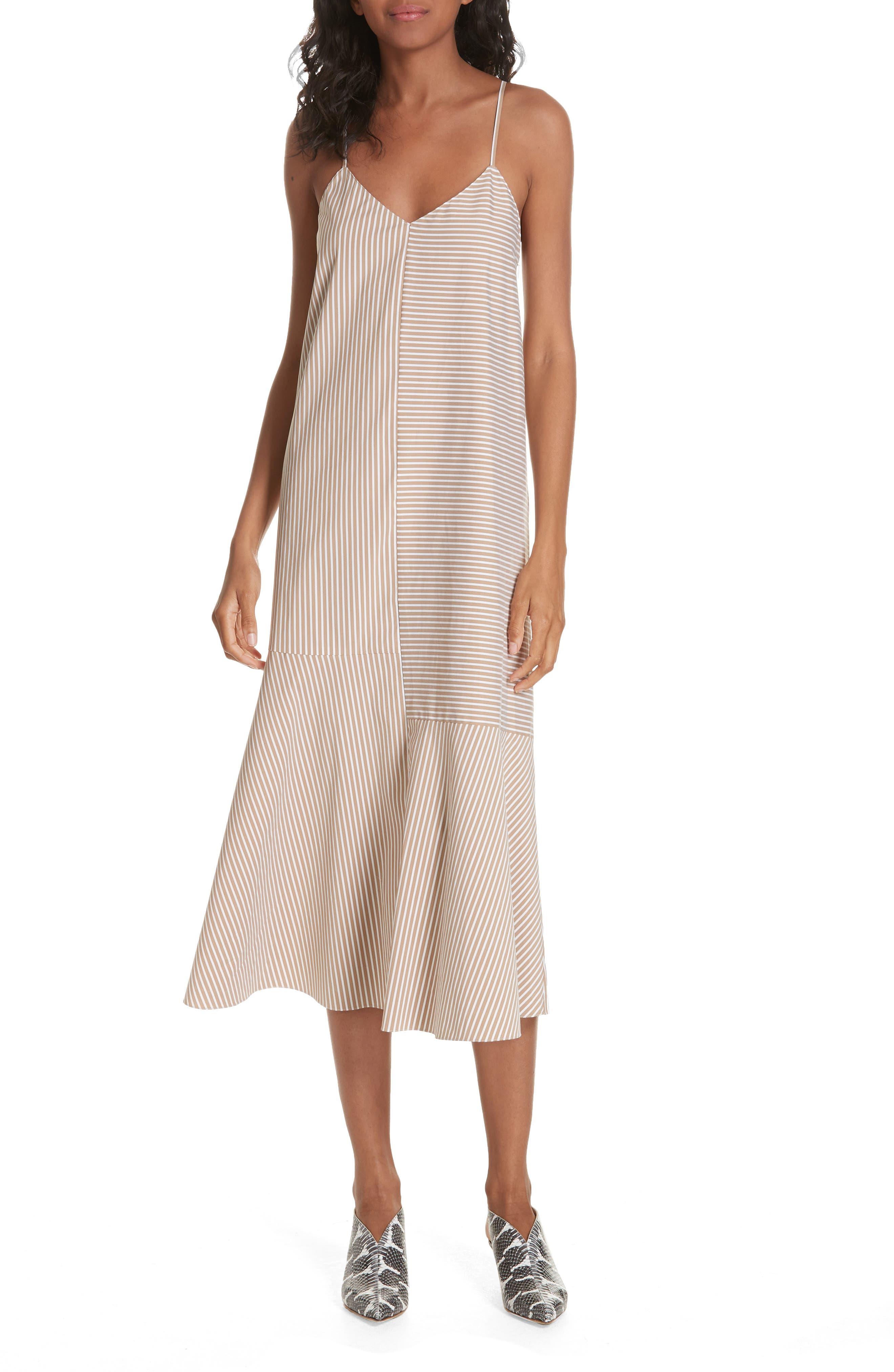 Tibi Kaia Stripe Flared Midi Dress, Beige