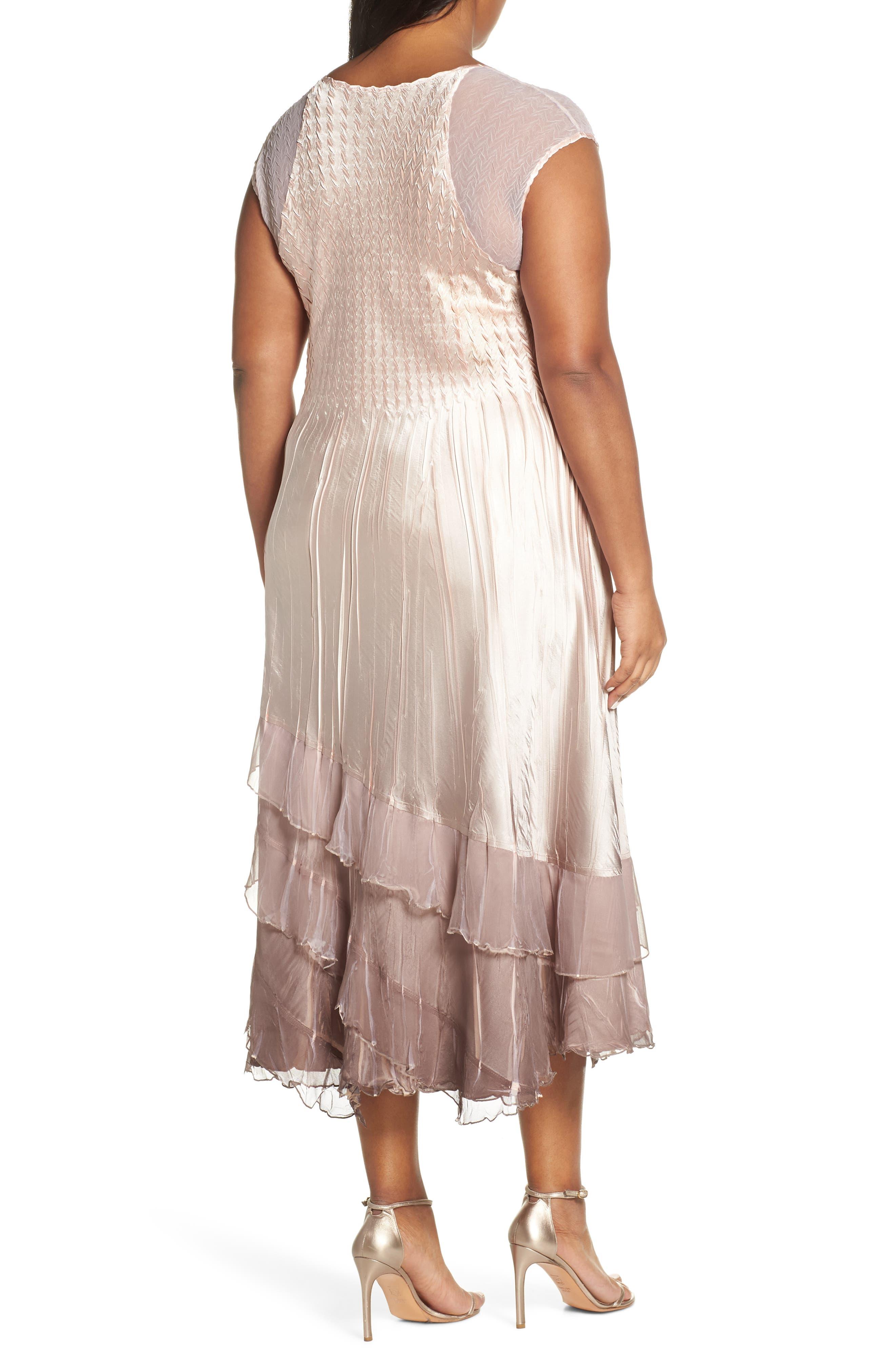 KOMAROV,                             Tiered Hem Ombré Dress with Jacket,                             Alternate thumbnail 5, color,                             VINTAGE ROSE WITH CAFE OMBRE