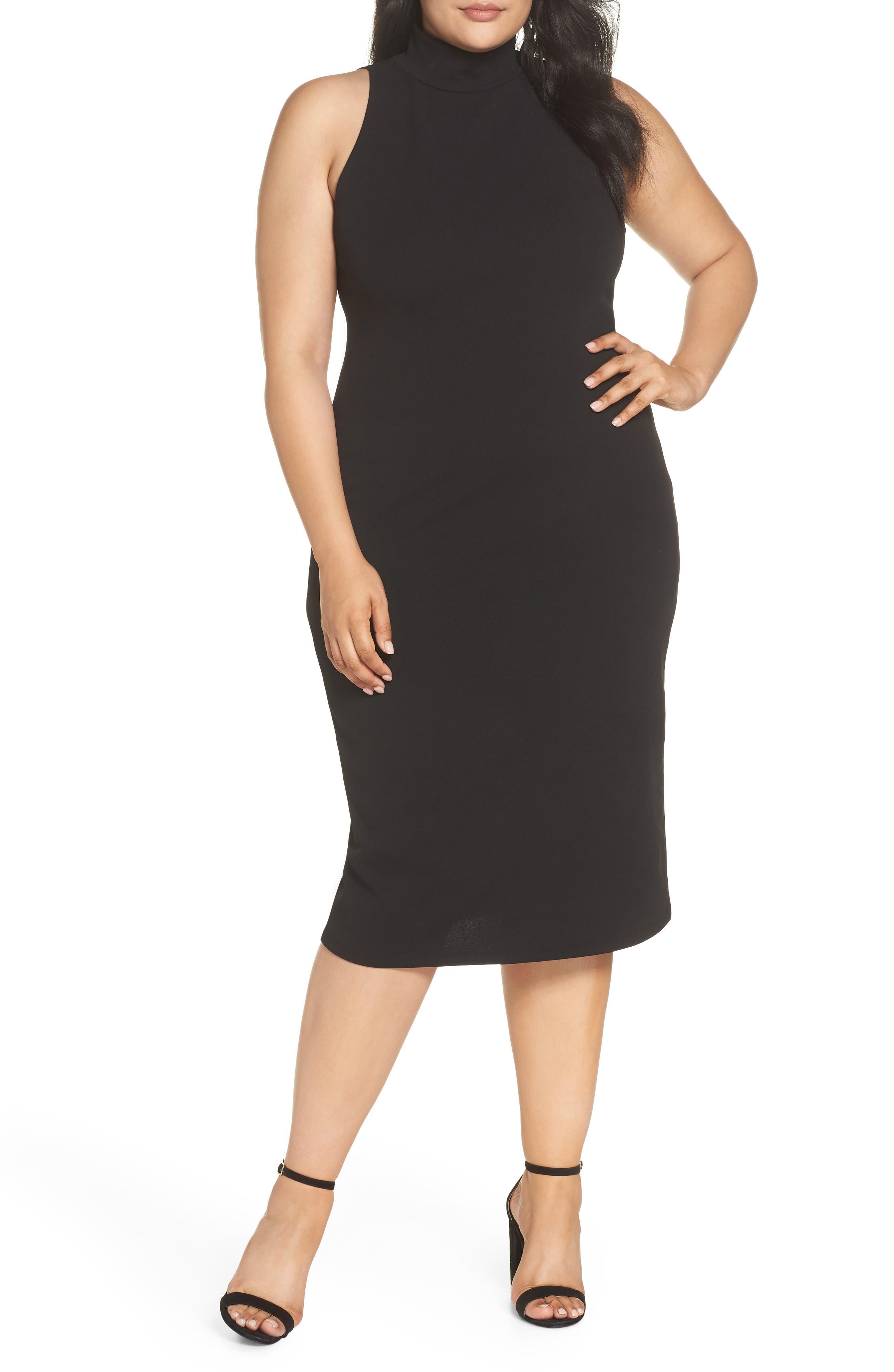 Mock Neck Body-Con Dress,                             Alternate thumbnail 2, color,                             BLACK