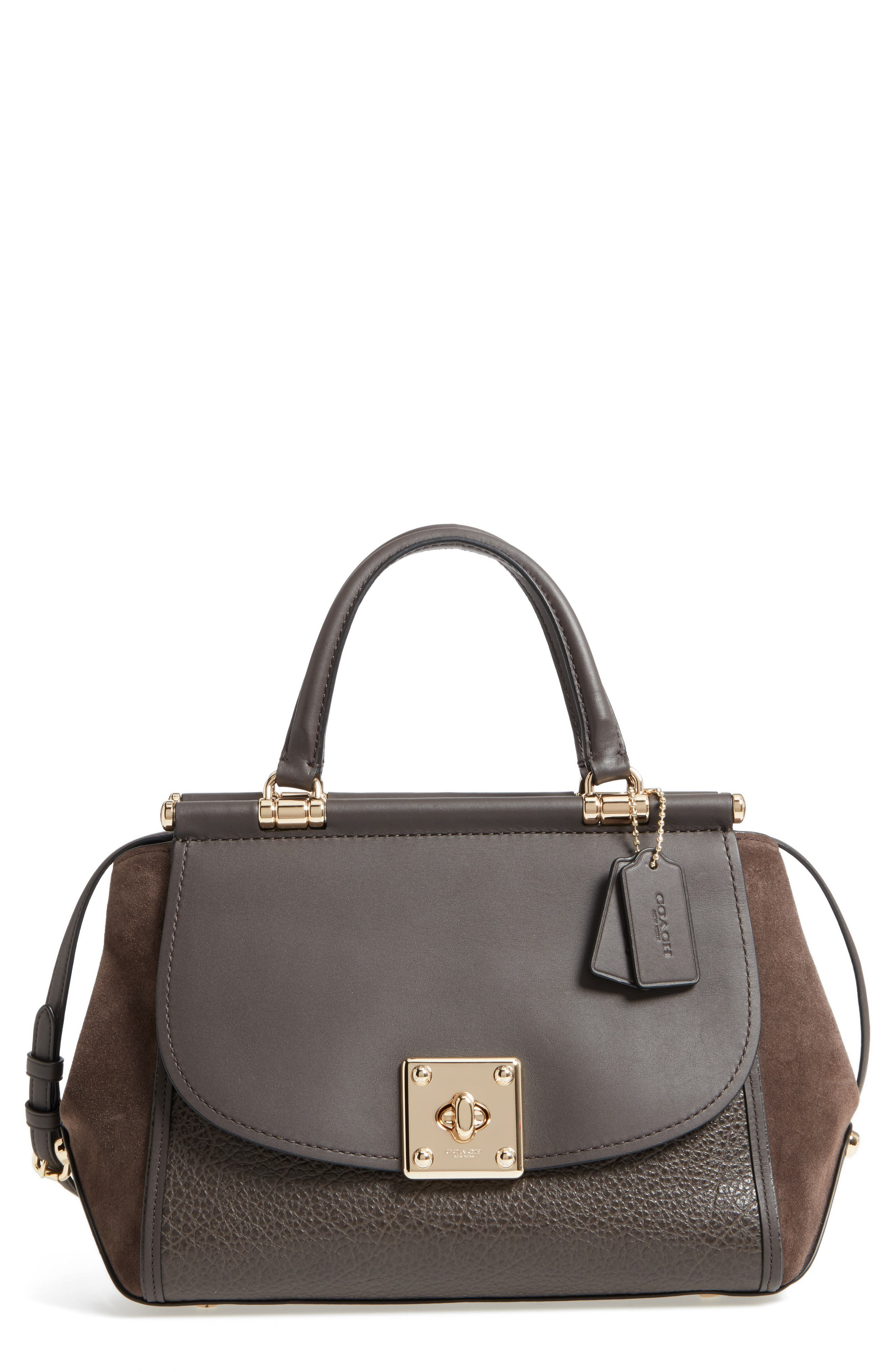 Mixed Leather Satchel,                             Main thumbnail 2, color,