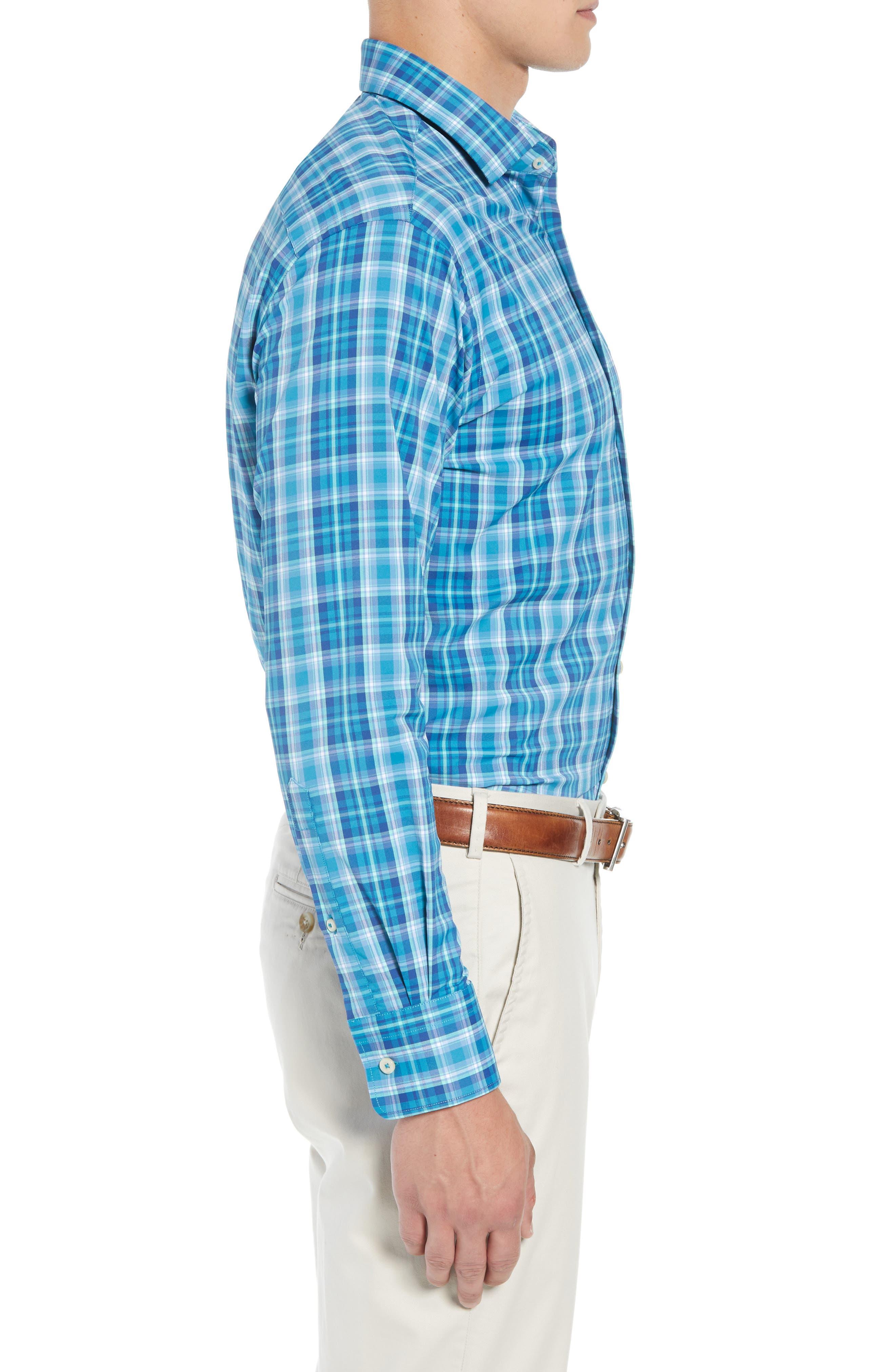 Van Regular Fit Check Performance Sport Shirt,                             Alternate thumbnail 4, color,                             BLUE